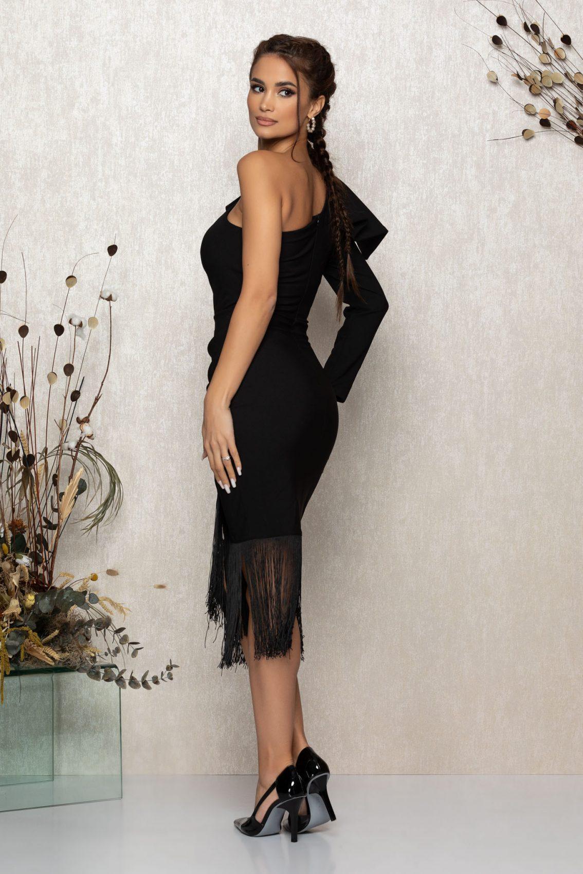 Μαύρο Μίντι Βραδινό Φόρεμα Με Κρόσια Fortuna T391 2