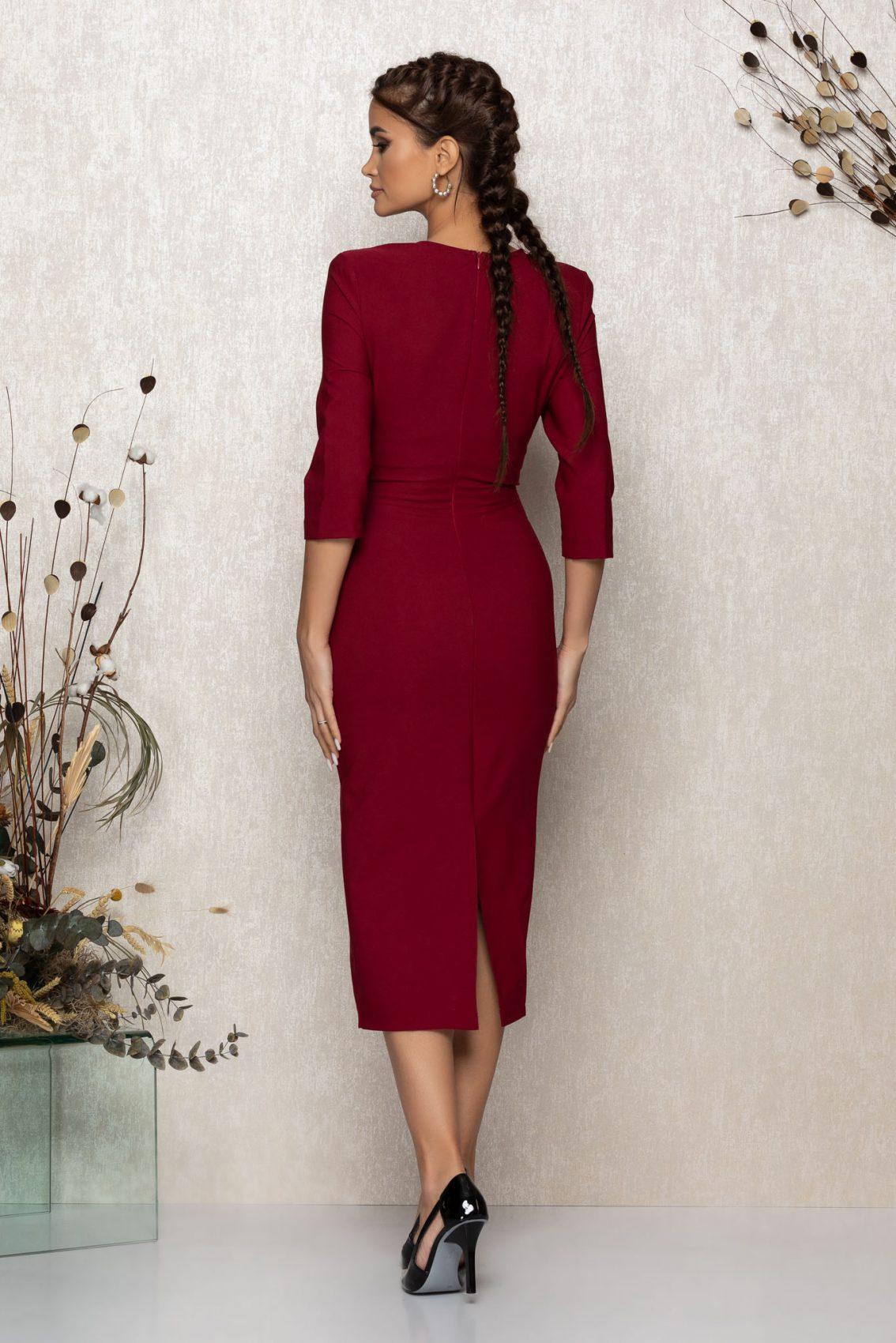Μπορντό Μίντι Βραδινό Φόρεμα Minerva T379 2