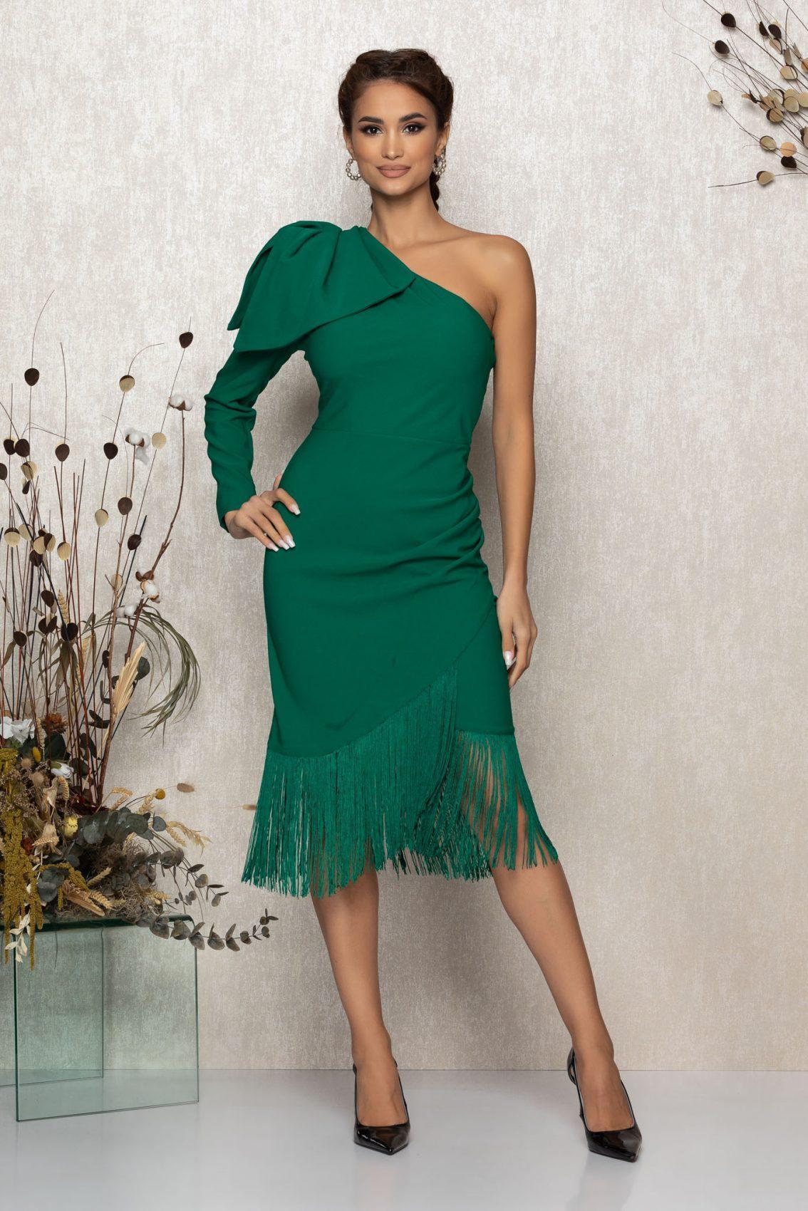 Πράσινο Μίντι Βραδινό Φόρεμα Με Κρόσια Fortuna T394 1