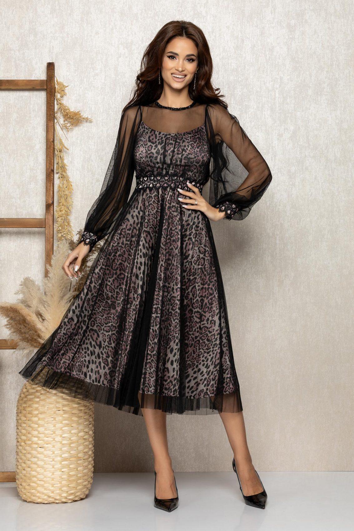 Λεοπάρ Μίντι Αμπιγιέ Φόρεμα Με Δαντέλα Celine T270 1