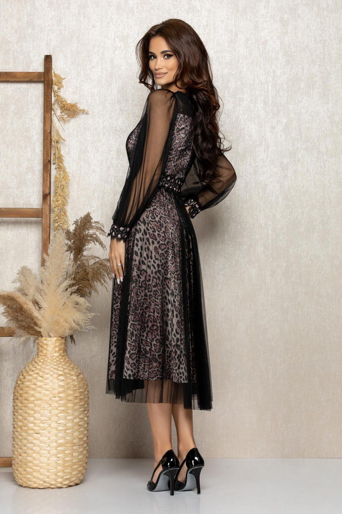 Λεοπάρ Μίντι Αμπιγιέ Φόρεμα Με Δαντέλα Celine T270 2