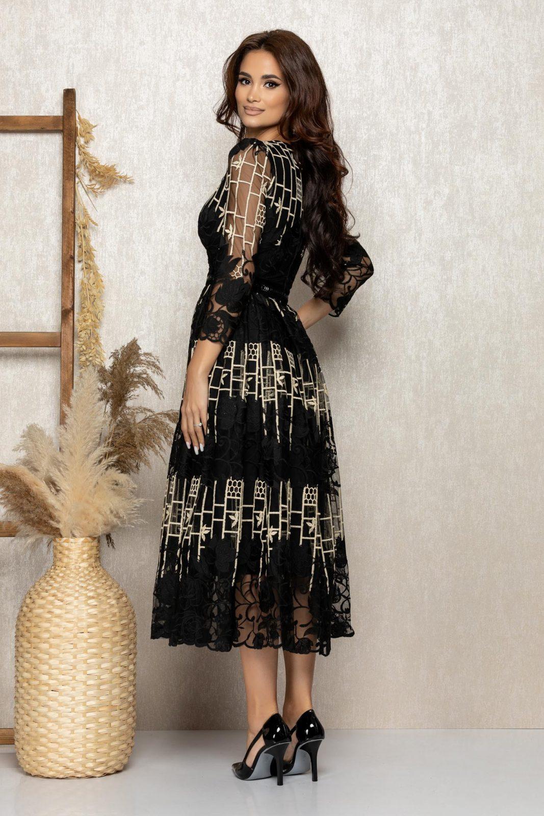 Μαύρο Μίντι Βραδινό Φόρεμα Από Δαντέλα Flaminia T275 2