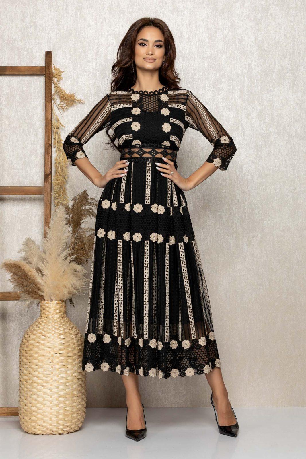 Μαύρο Μίντι Αμπιγιέ Φόρεμα Από Δαντέλα Admire T276 1