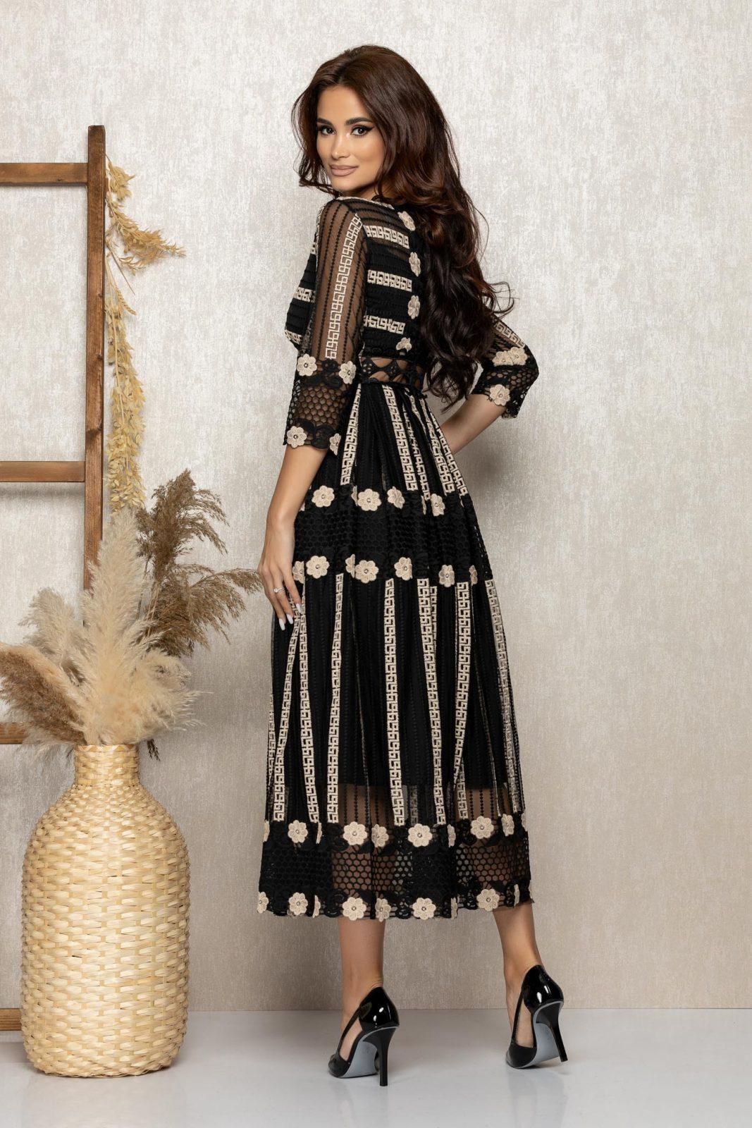 Μαύρο Μίντι Αμπιγιέ Φόρεμα Από Δαντέλα Admire T276 2