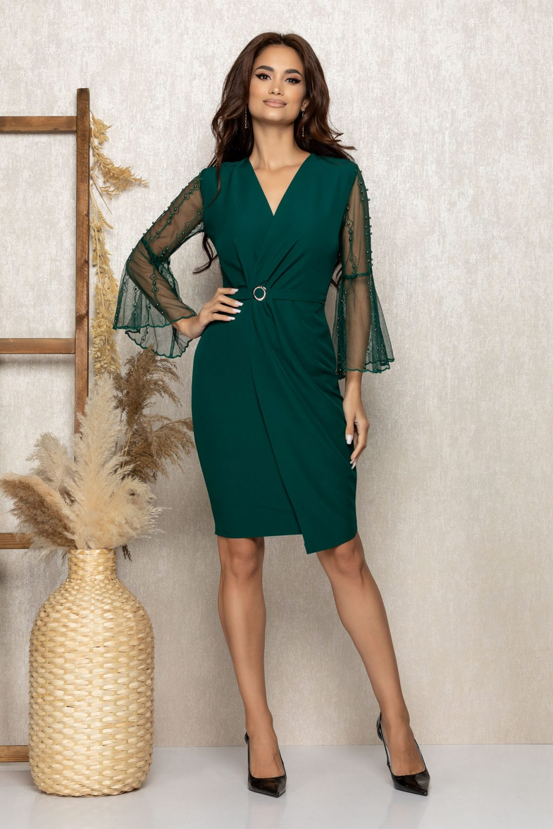 Πράσινο Κρουαζέ Βραδινό Φόρεμα Ynna T263 1