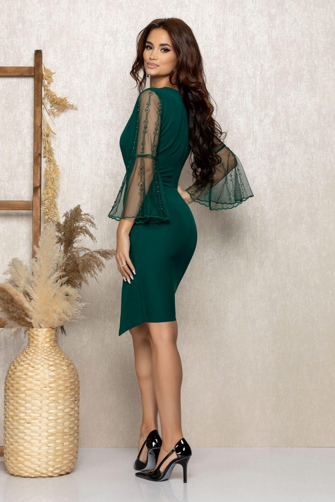 Πράσινο Κρουαζέ Βραδινό Φόρεμα Ynna T263 2