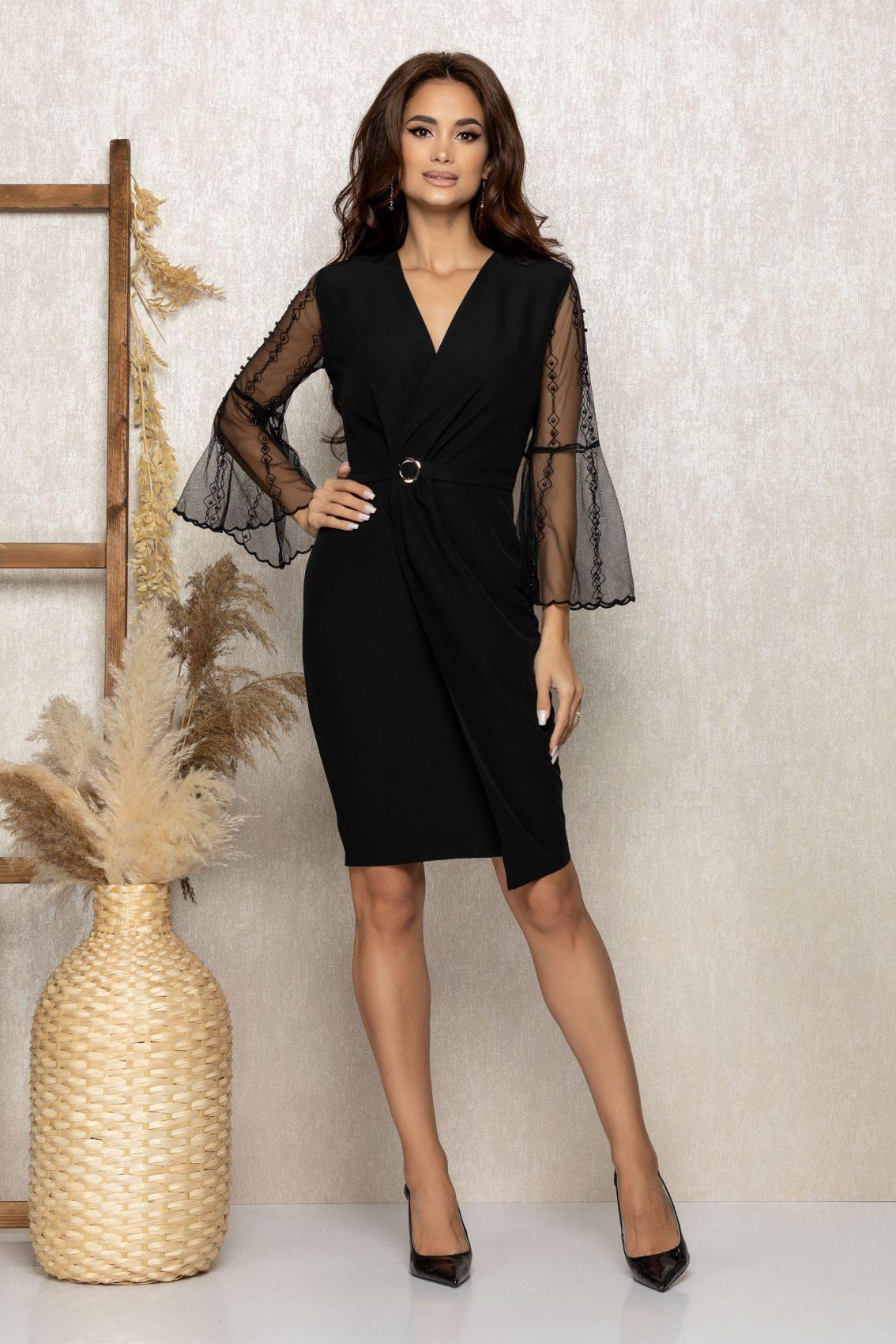 Μαύρο Κρουαζέ Βραδινό Φόρεμα Ynna T264 1