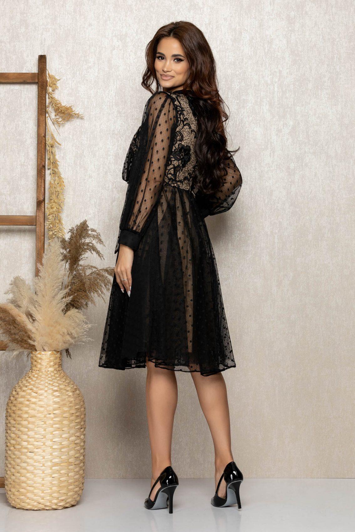Nude Μίντι Αμπιγιέ Φόρεμα Με Δαντέλα Cassandra T260 2