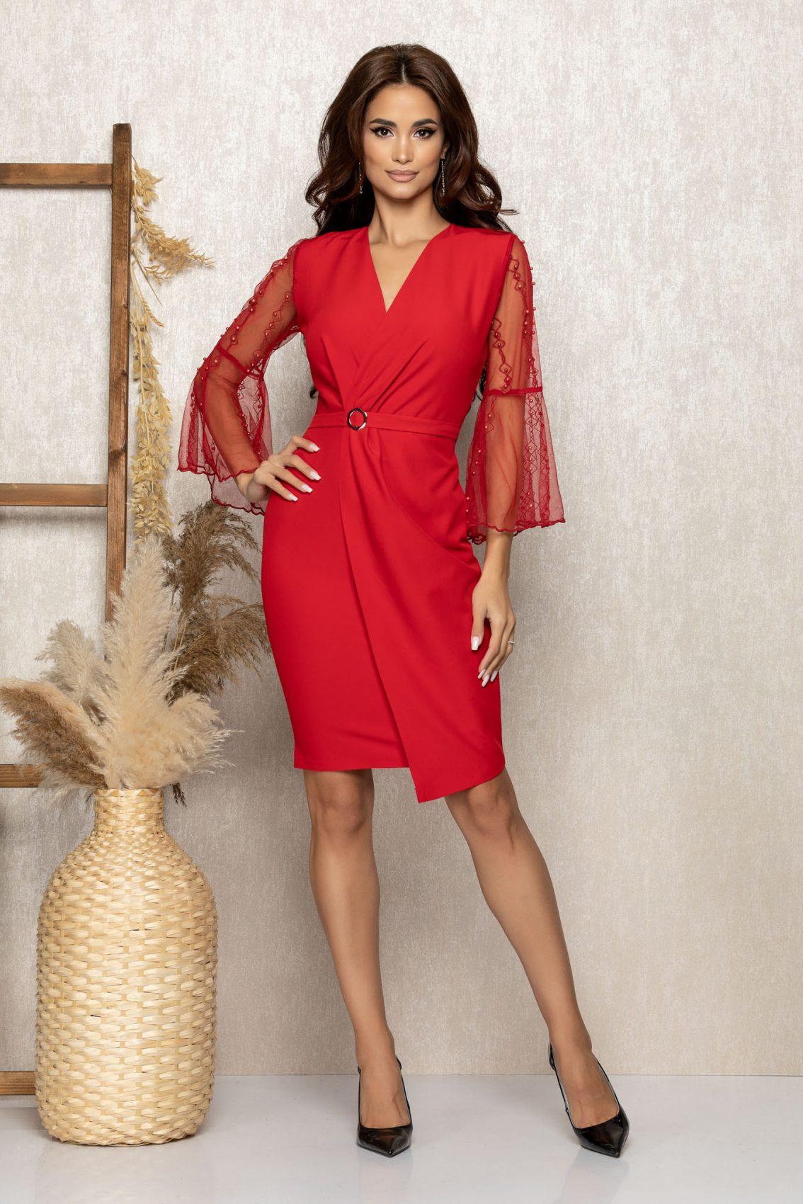 Κόκκινο Κρουαζέ Βραδινό Φόρεμα Ynna T265 1