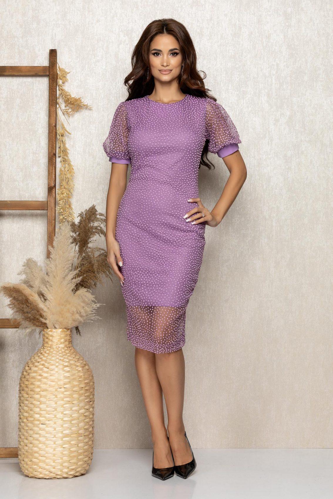 Λιλά Μίντι Βραδινό Φόρεμα Από Τούλι Keisha T279 1