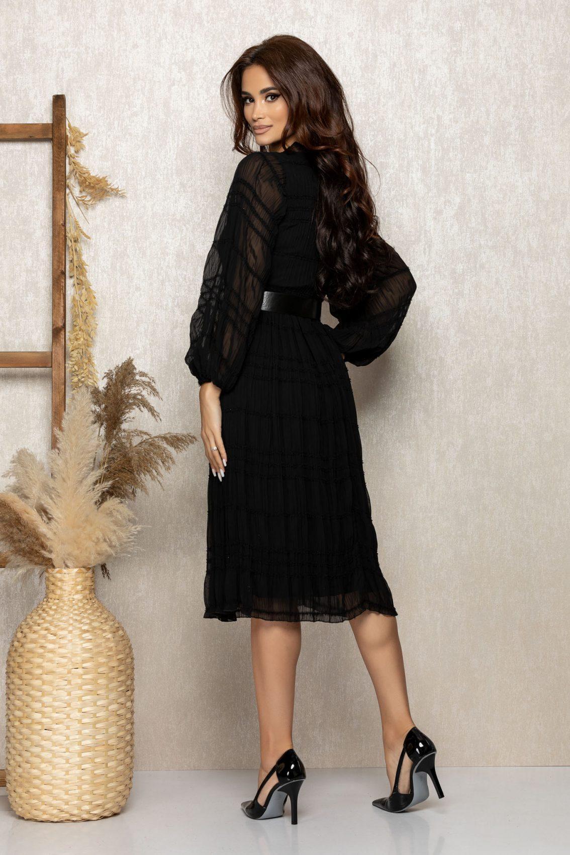 Μαύρο Μίντι Βραδινό Φόρεμα Με Ζώνη Marilyn T280 2