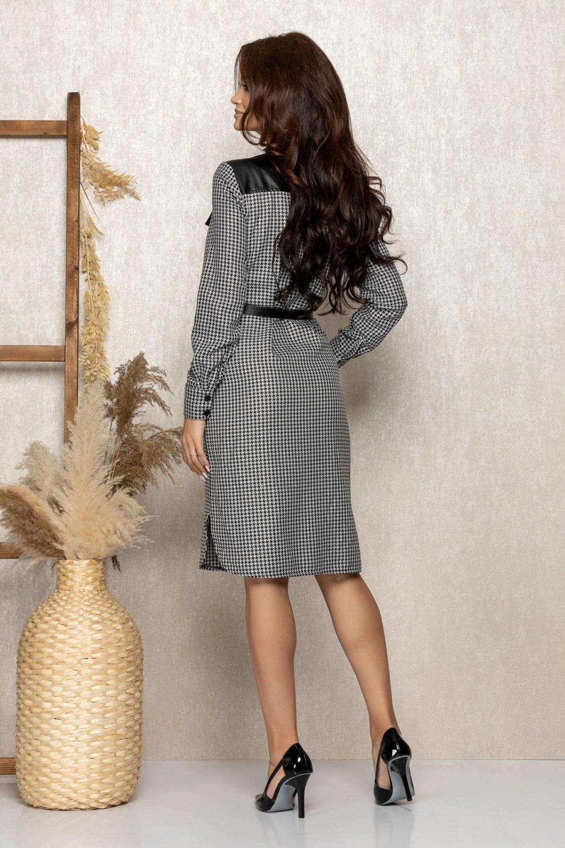 Ασπρόμαυρο Καρό Σεμιζιέ Φόρεμα Symba T285 2
