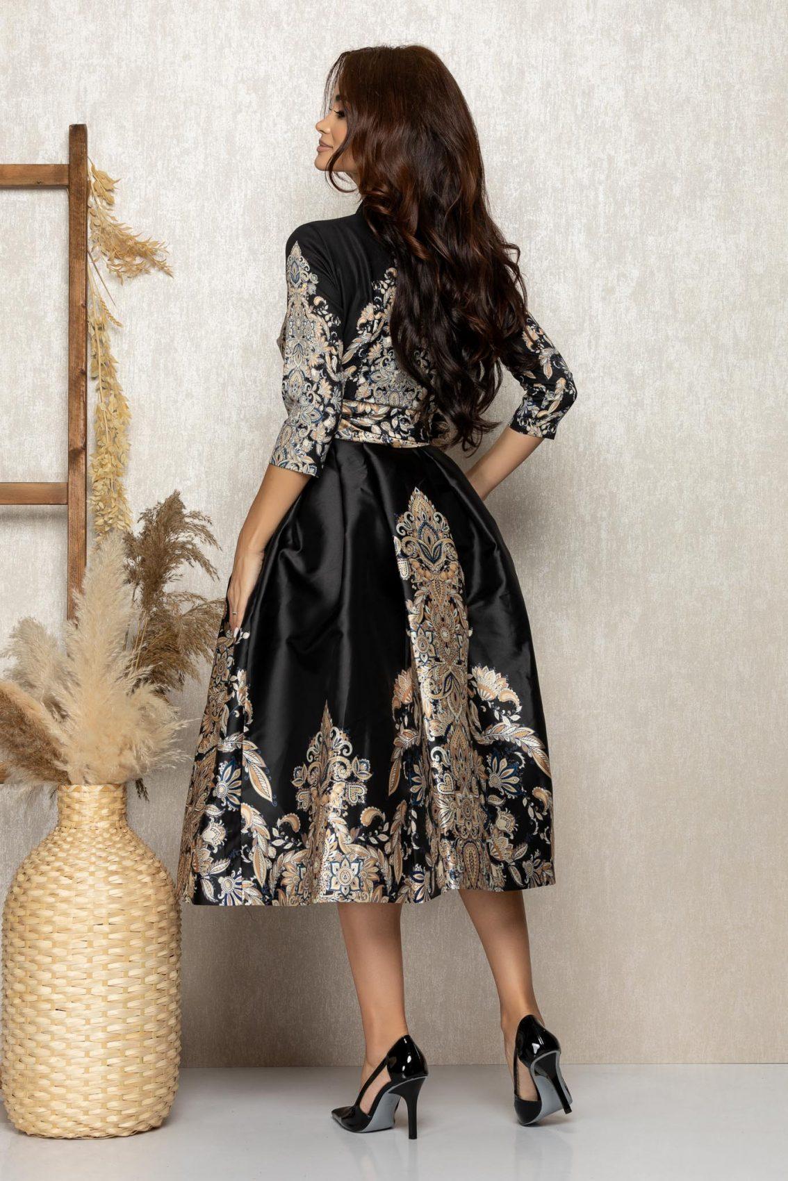 Μαύρο Μίντι Σατέν Αμπιγιέ Φόρεμα Adore T282 2