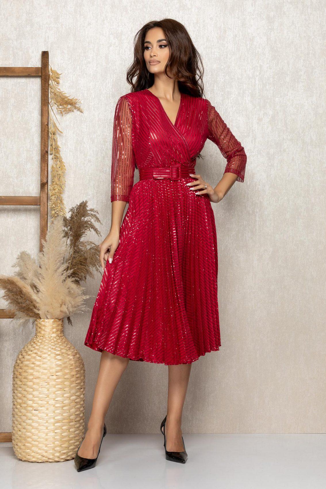 Μπορντό Μίντι Βραδινό Πλισέ Φόρεμα Delilah T288 1