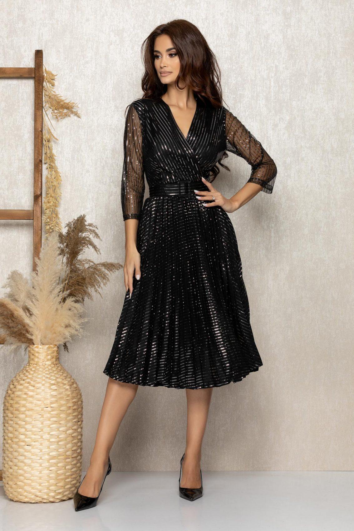 Μαύρο Μίντι Βραδινό Πλισέ Φόρεμα Delilah T289 1