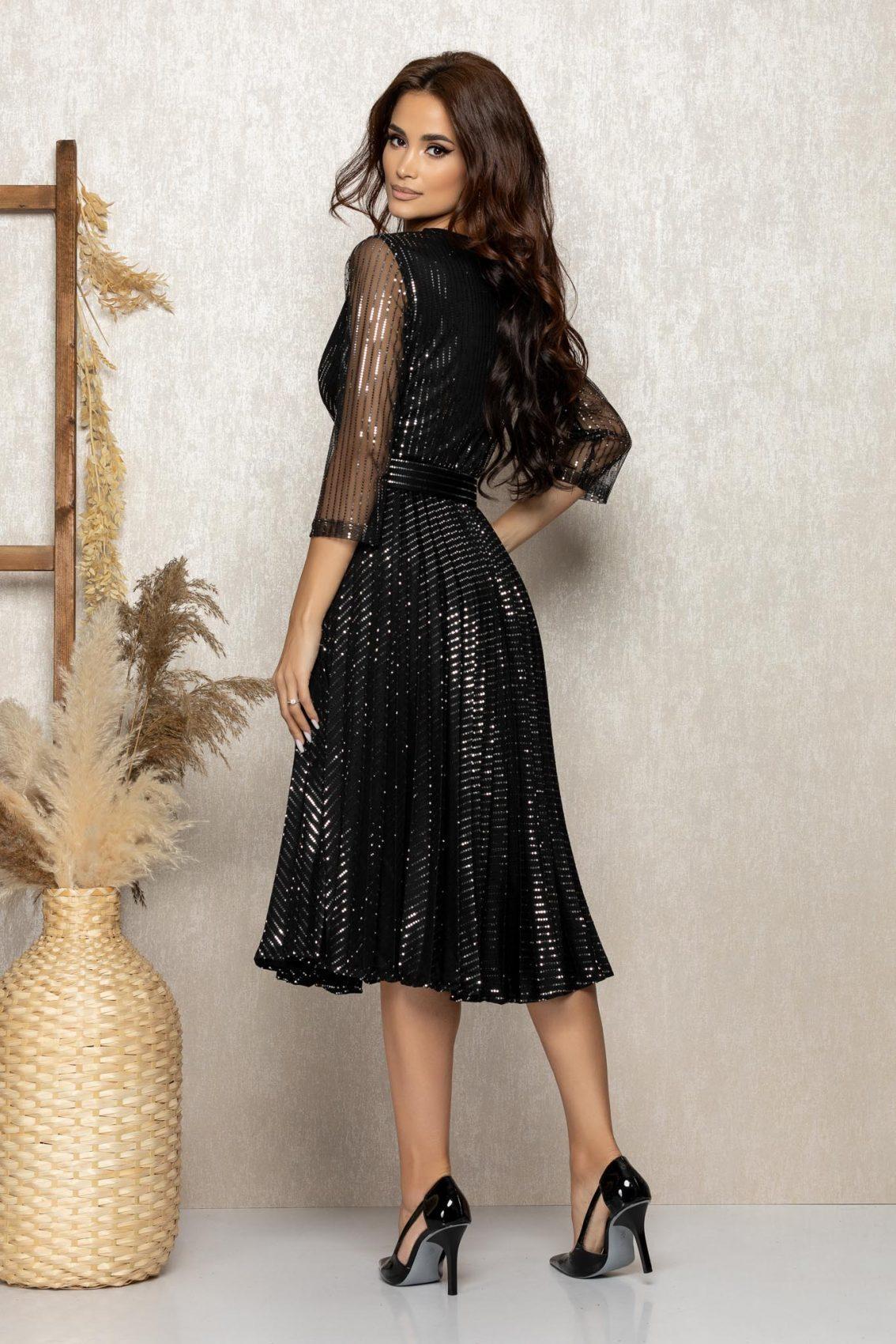 Μαύρο Μίντι Βραδινό Πλισέ Φόρεμα Delilah T289 2