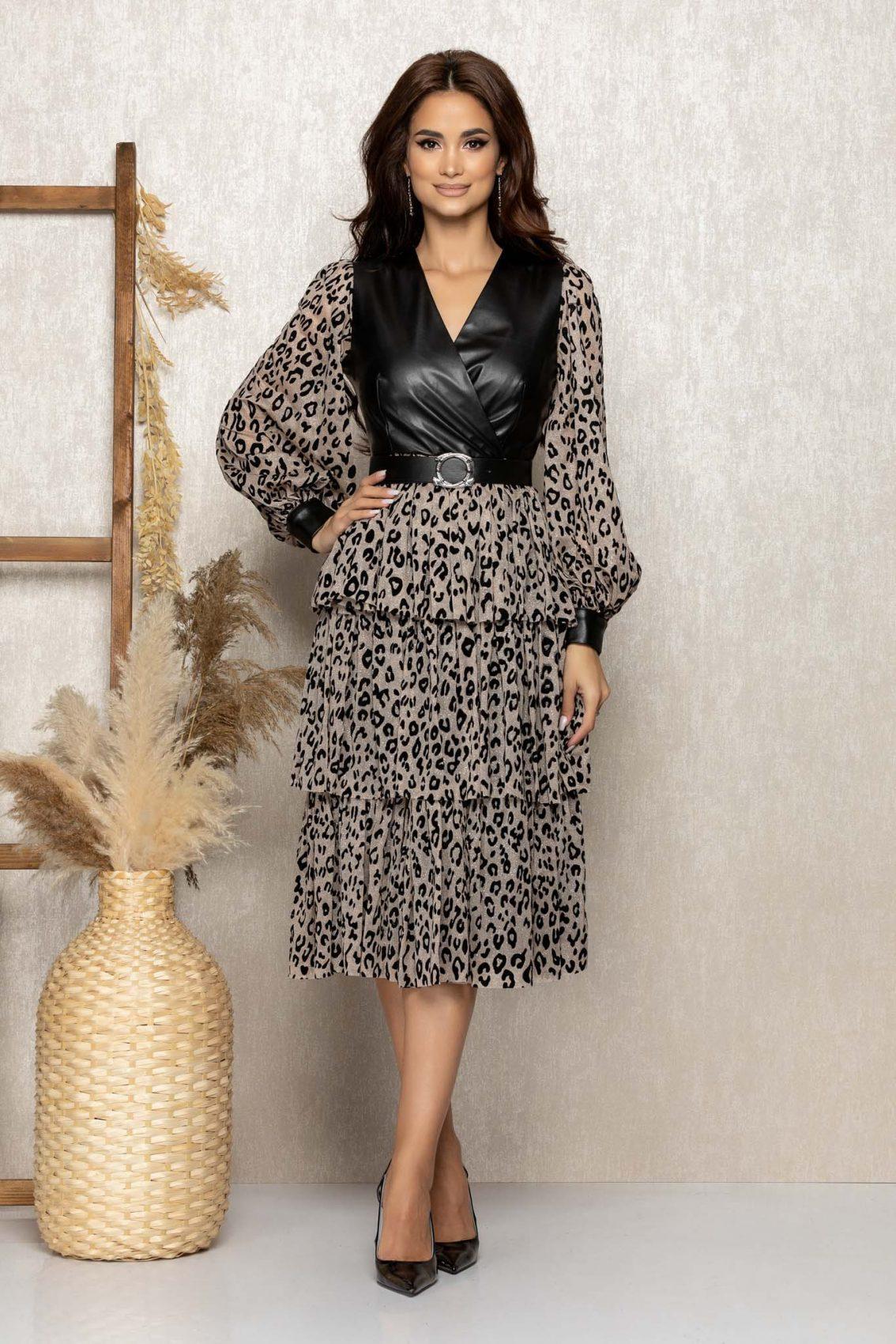 Λεοπάρ Μίντι Βραδινό Φόρεμα Με Βολάν Suzanne T291 1