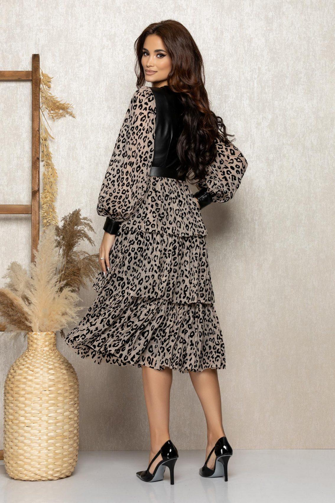 Λεοπάρ Μίντι Βραδινό Φόρεμα Με Βολάν Suzanne T291 2