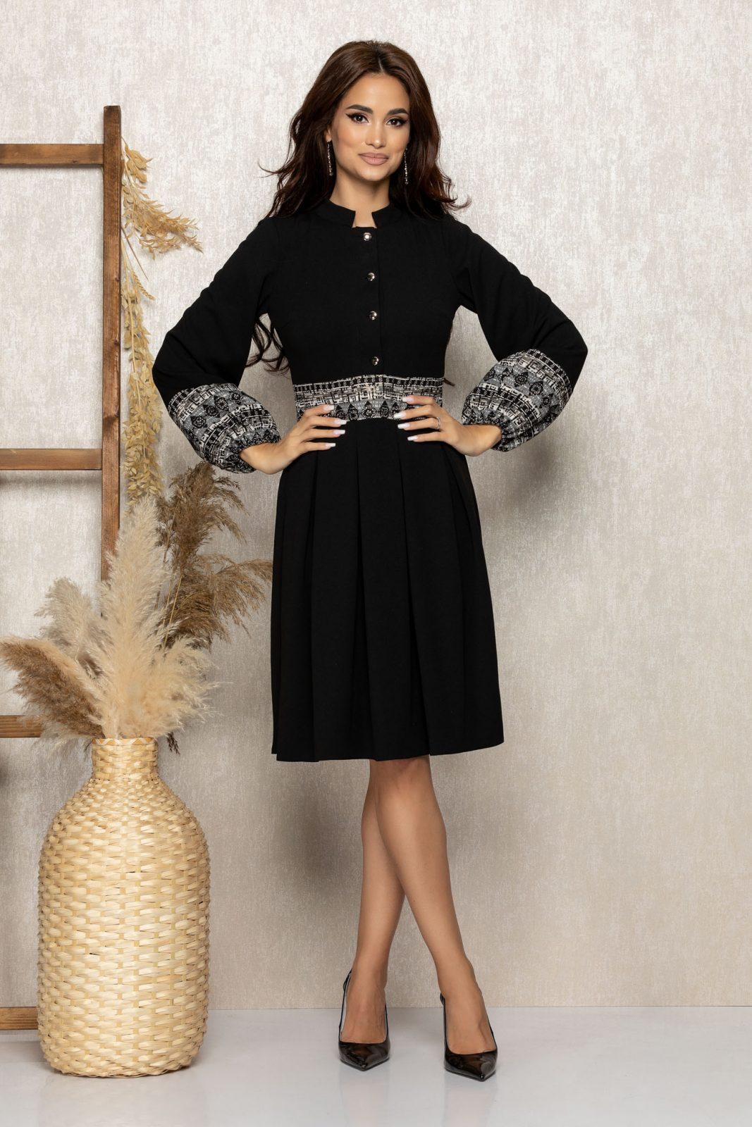 Μαύρο Μίντι Μακρυμάνικο Φόρεμα Aura T292 1