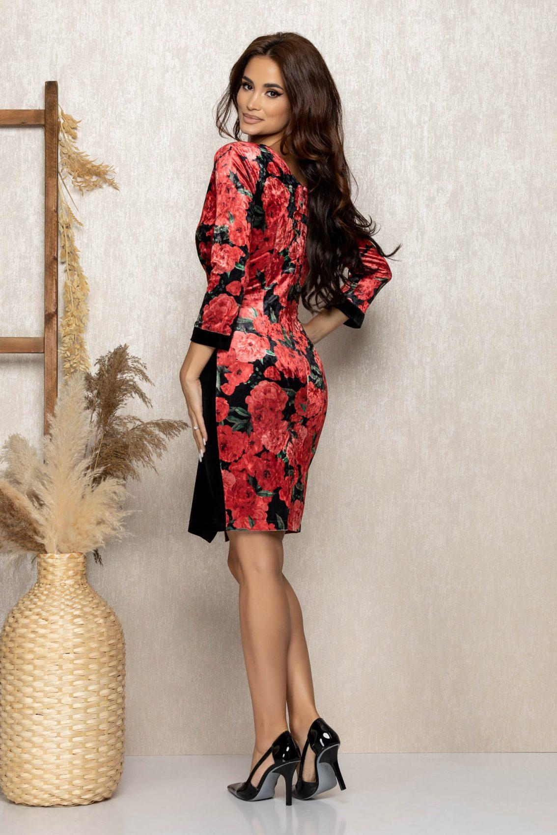 Κόκκινο Κρουαζέ Φλοράλ Φόρεμα Από Βελούδο Amira T295 2