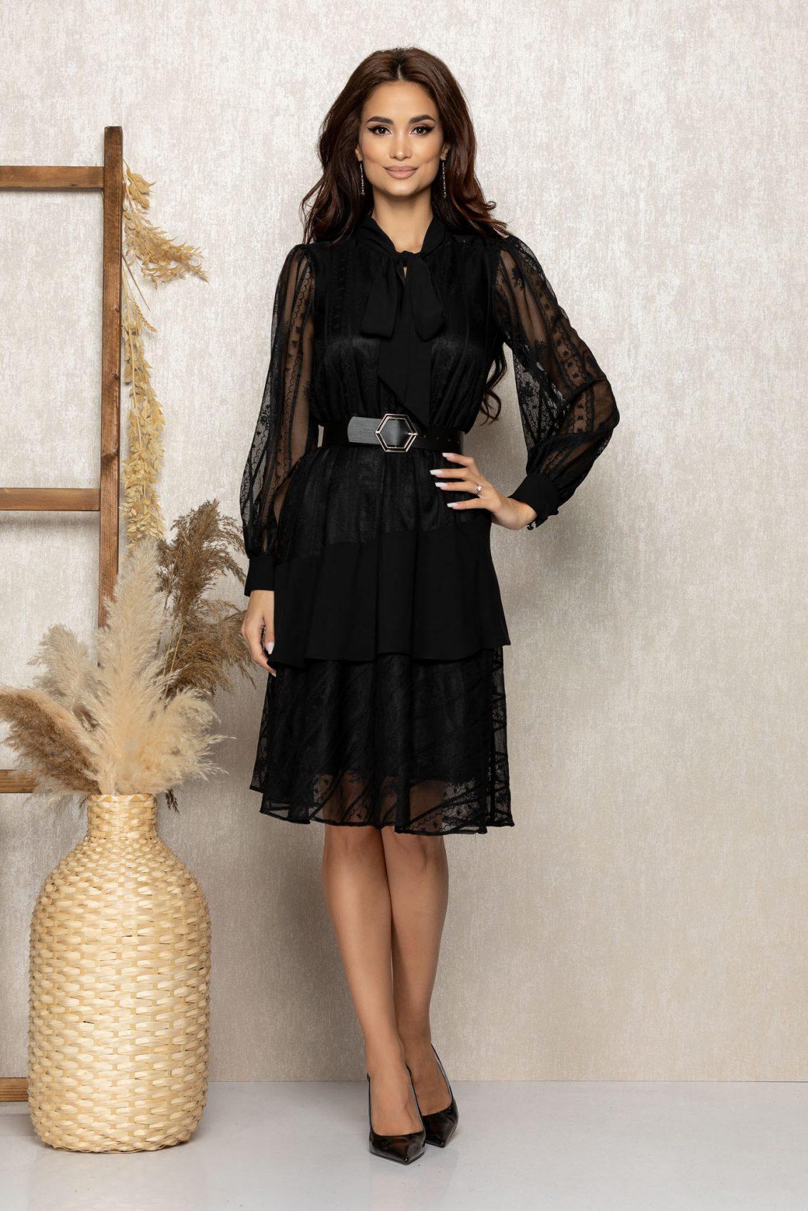 Μαύρο Βραδινό Φόρεμα Με Δαντέλα Zendaya T302 1