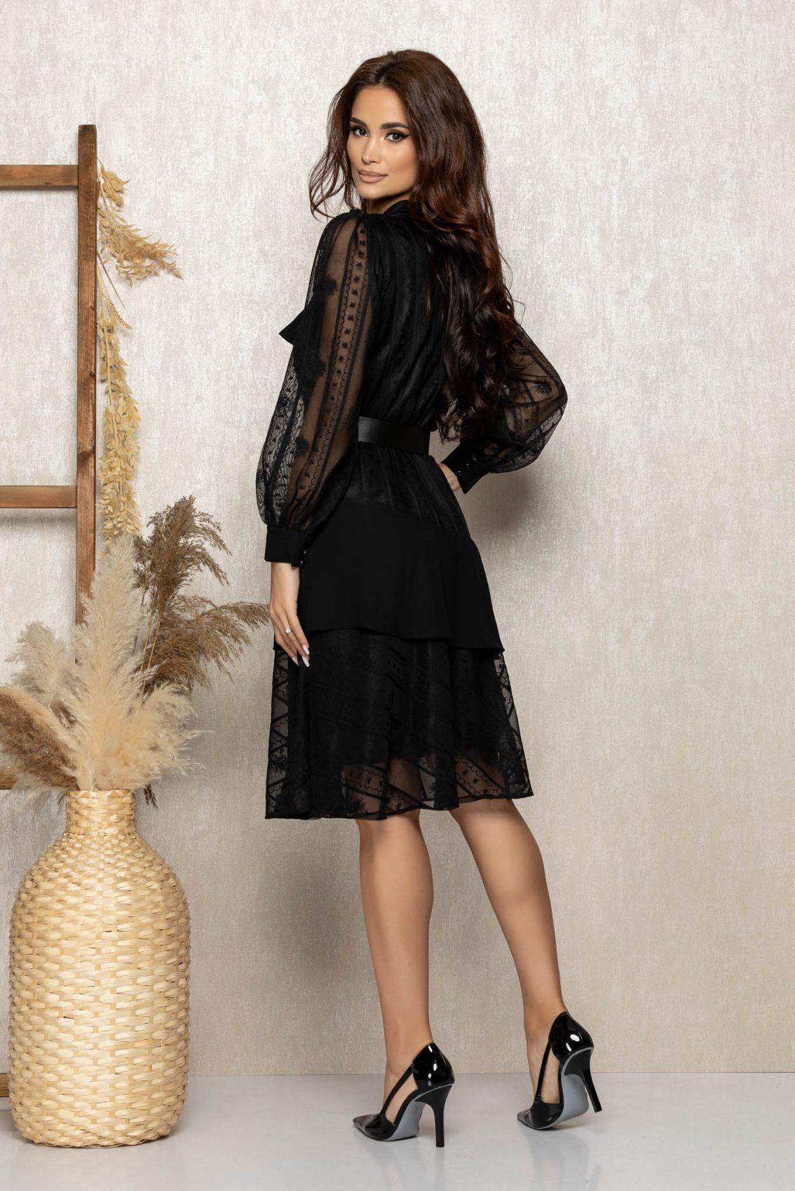 Μαύρο Βραδινό Φόρεμα Με Δαντέλα Zendaya T302 2