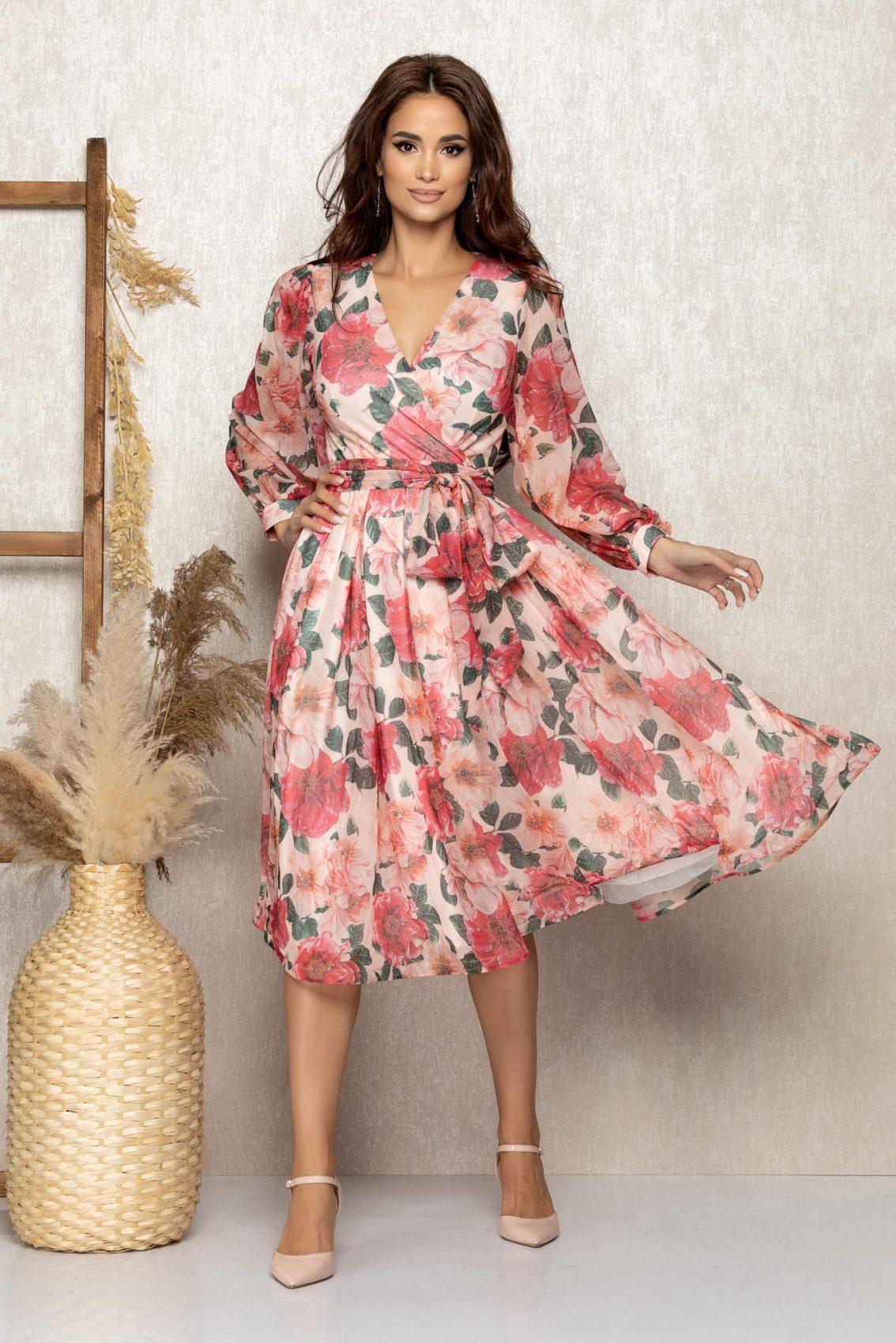 Φλοράλ Μίντι Βραδινό Κλος Φόρεμα Roza T304 1