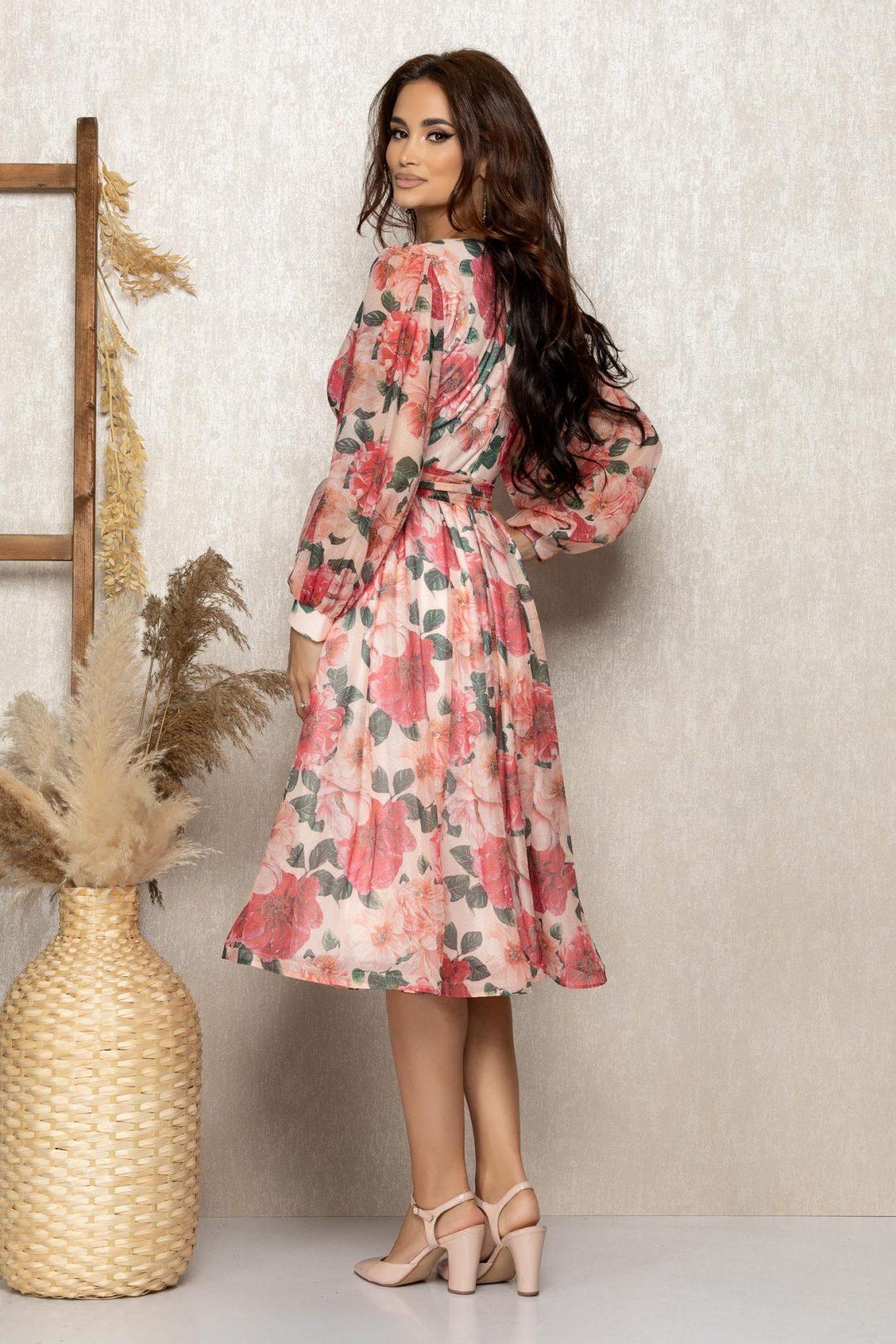 Φλοράλ Μίντι Βραδινό Κλος Φόρεμα Roza T304 2