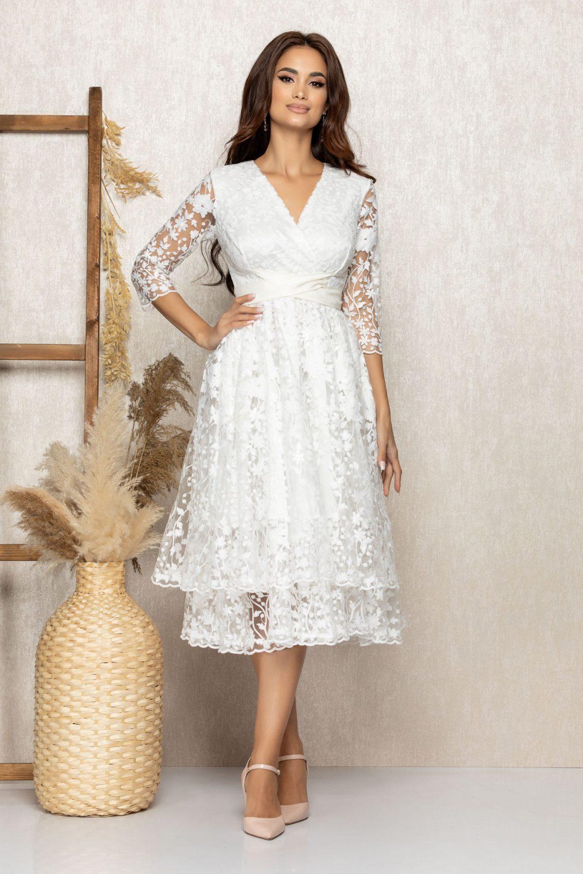 Λευκό Μίντι Νυφικό Φόρεμα Jolie T306 3