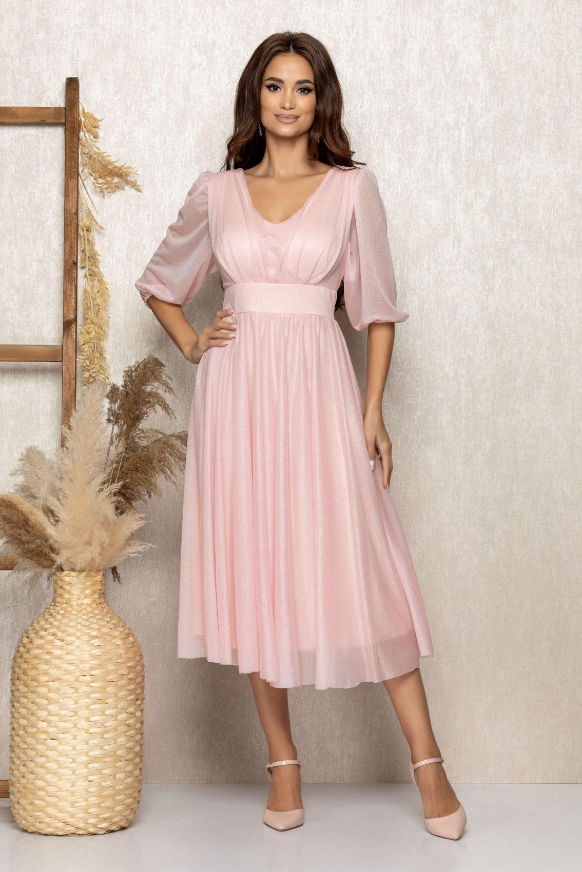 Ροζ Μίντι Βραδινό Φόρεμα Με Γκλίτερ Nicolette T305 1