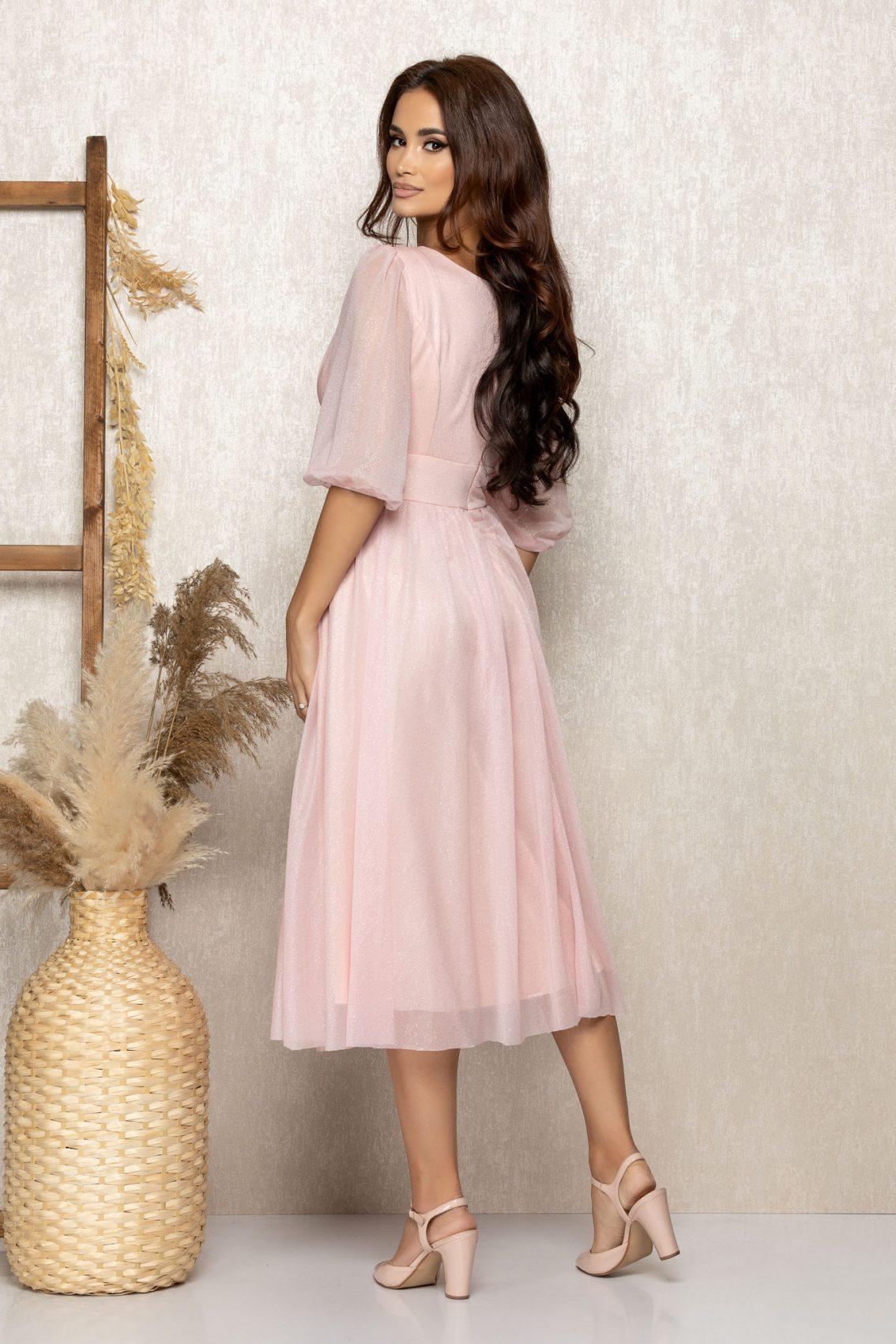 Ροζ Μίντι Βραδινό Φόρεμα Με Γκλίτερ Nicolette T305 2