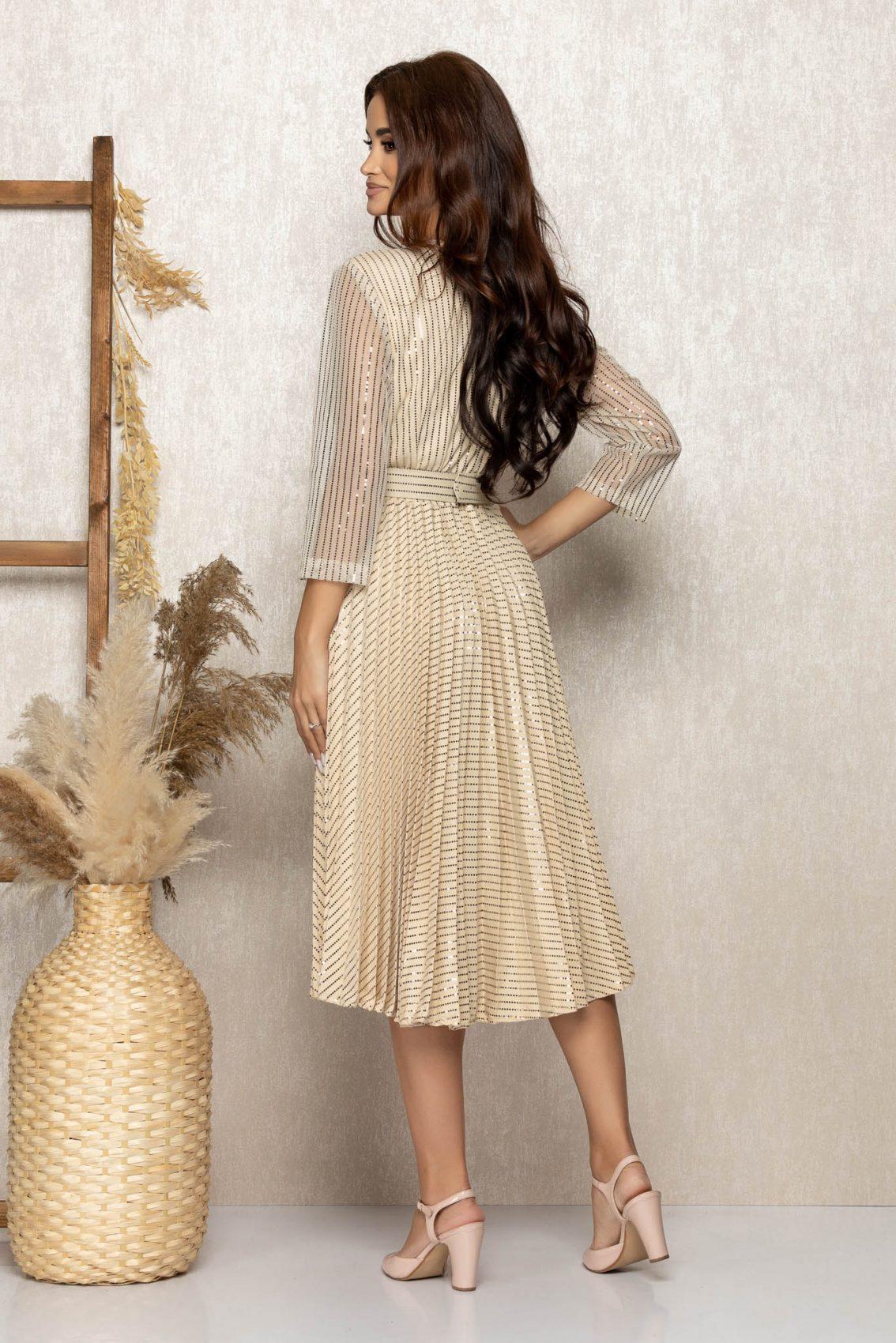Nude Μίντι Βραδινό Πλισέ Φόρεμα Delilah T290 2