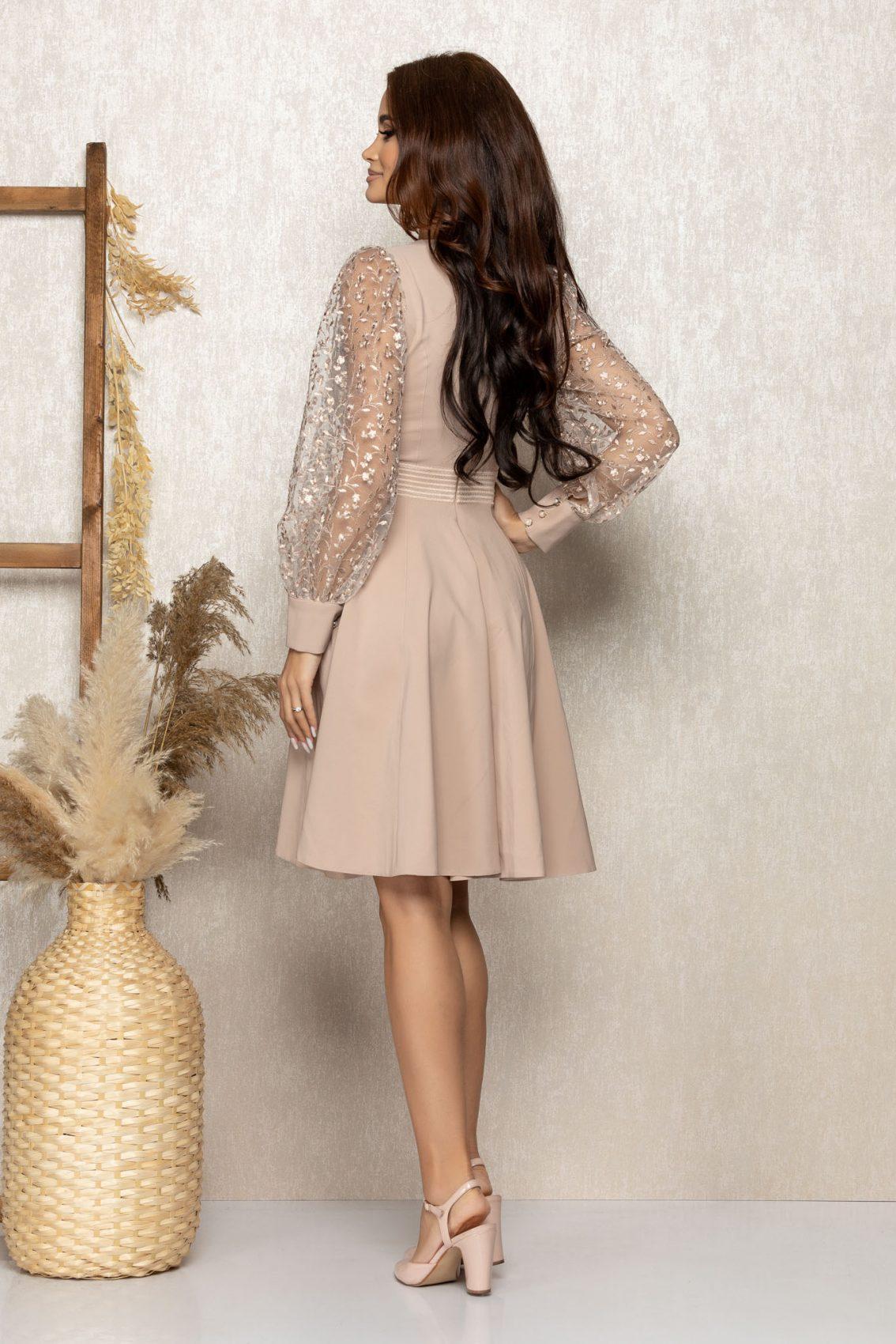 Μπεζ Βραδινό Φόρεμα Με Διαφανές Μανίκια Hilary T311 2