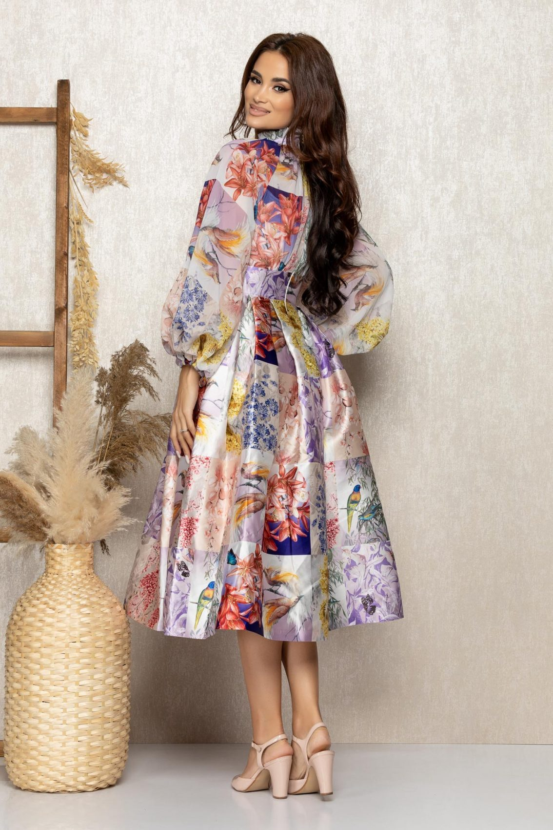 Λιλά Σατέν Εμπριμέ Αμπιγιέ Φόρεμα Wendy T310 2