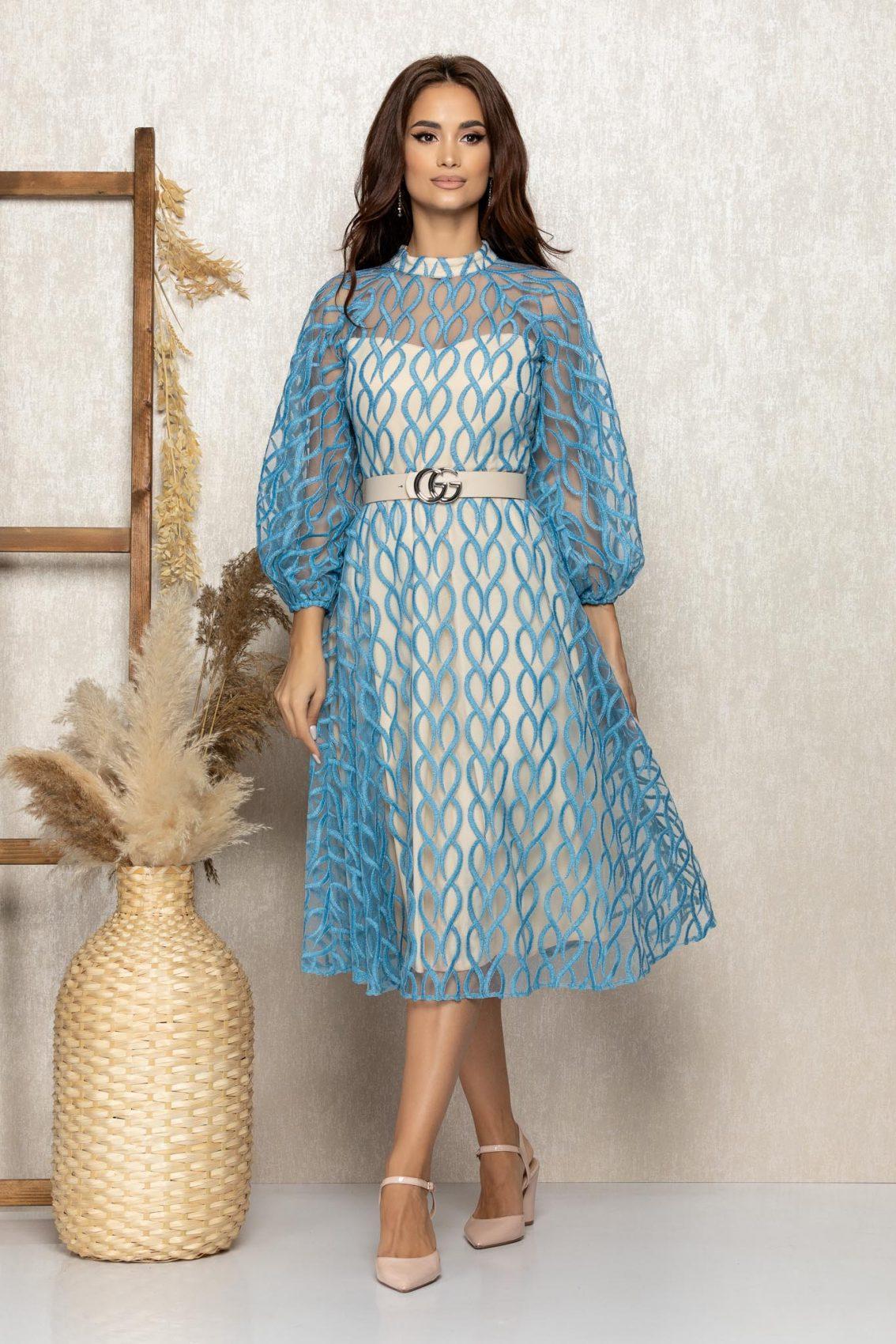 Μπλε Βραδινό Φόρεμα Με Διαφανές Μανίκια Adorra T317 1