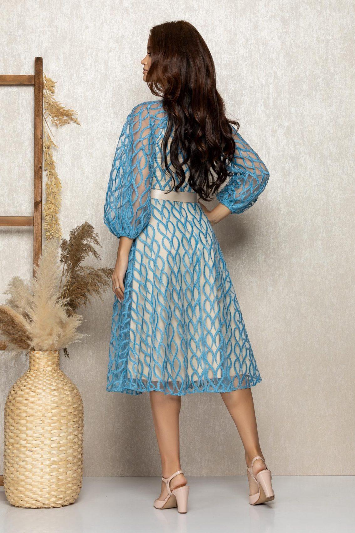 Μπλε Βραδινό Φόρεμα Με Διαφανές Μανίκια Adorra T317 2