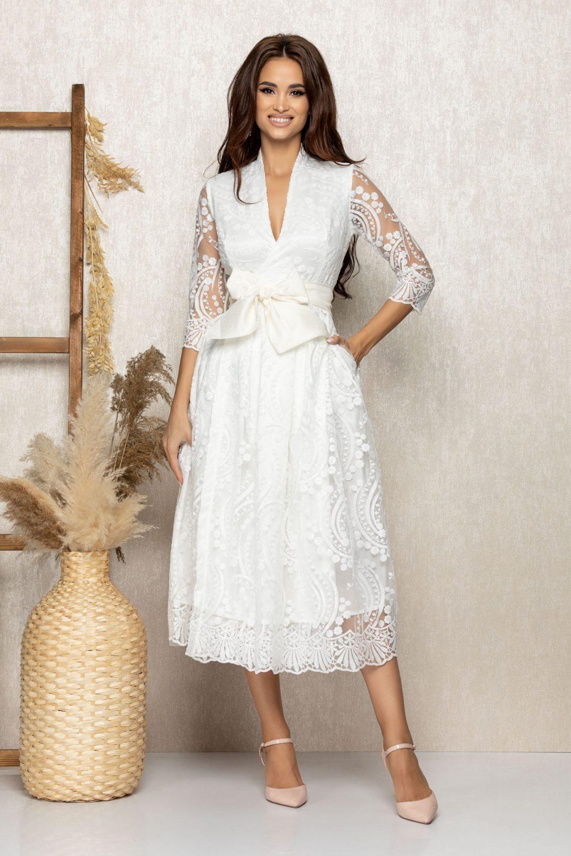 Λευκό Μίντι Νυφικό Φόρεμα Με Κέντημα Beautiful T312 3