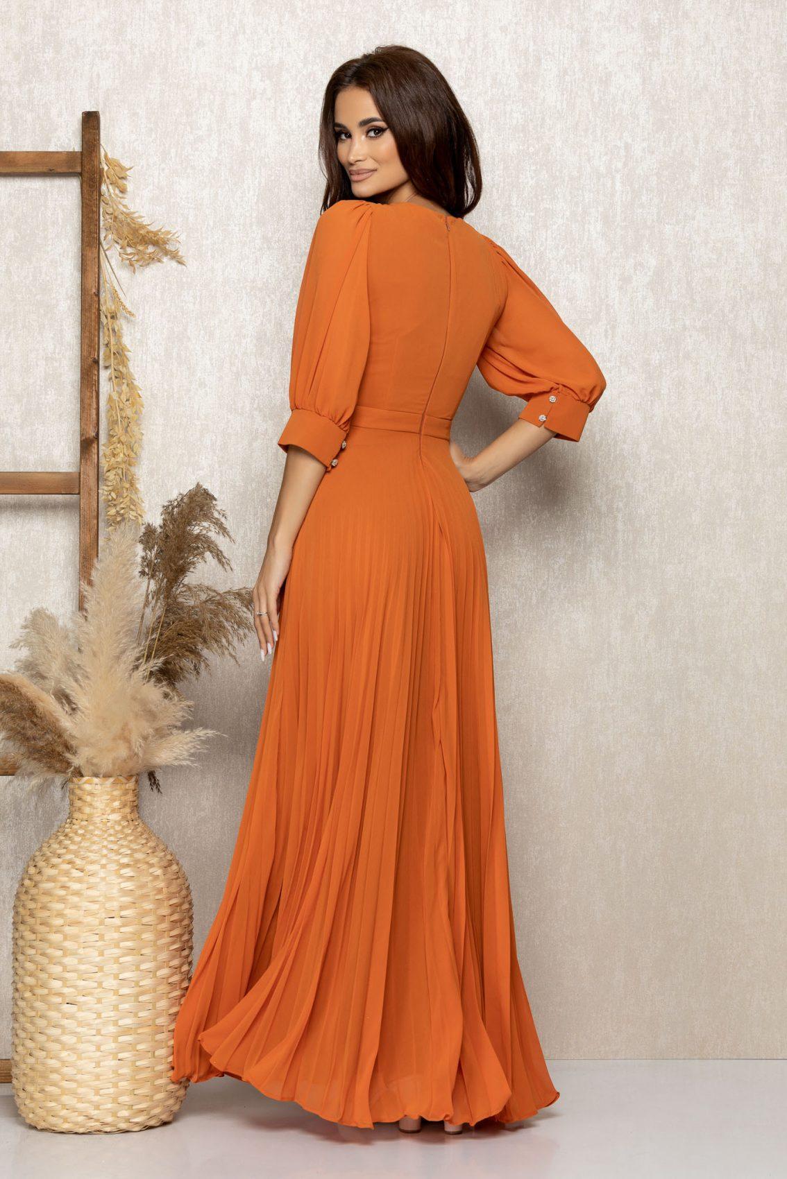 Πορτοκαλί Μάξι Βραδινό Φόρεμα Με Στρας Gracielle T268 2