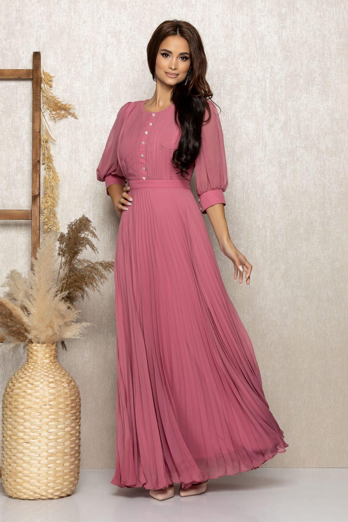 Ροζ Μάξι Βραδινό Φόρεμα Με Στρας Gracielle T269 1