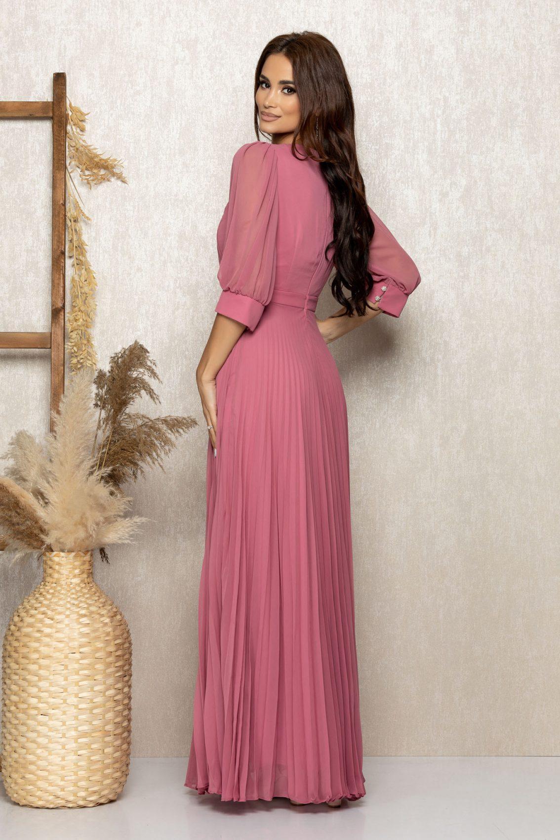 Ροζ Μάξι Βραδινό Φόρεμα Με Στρας Gracielle T269 2