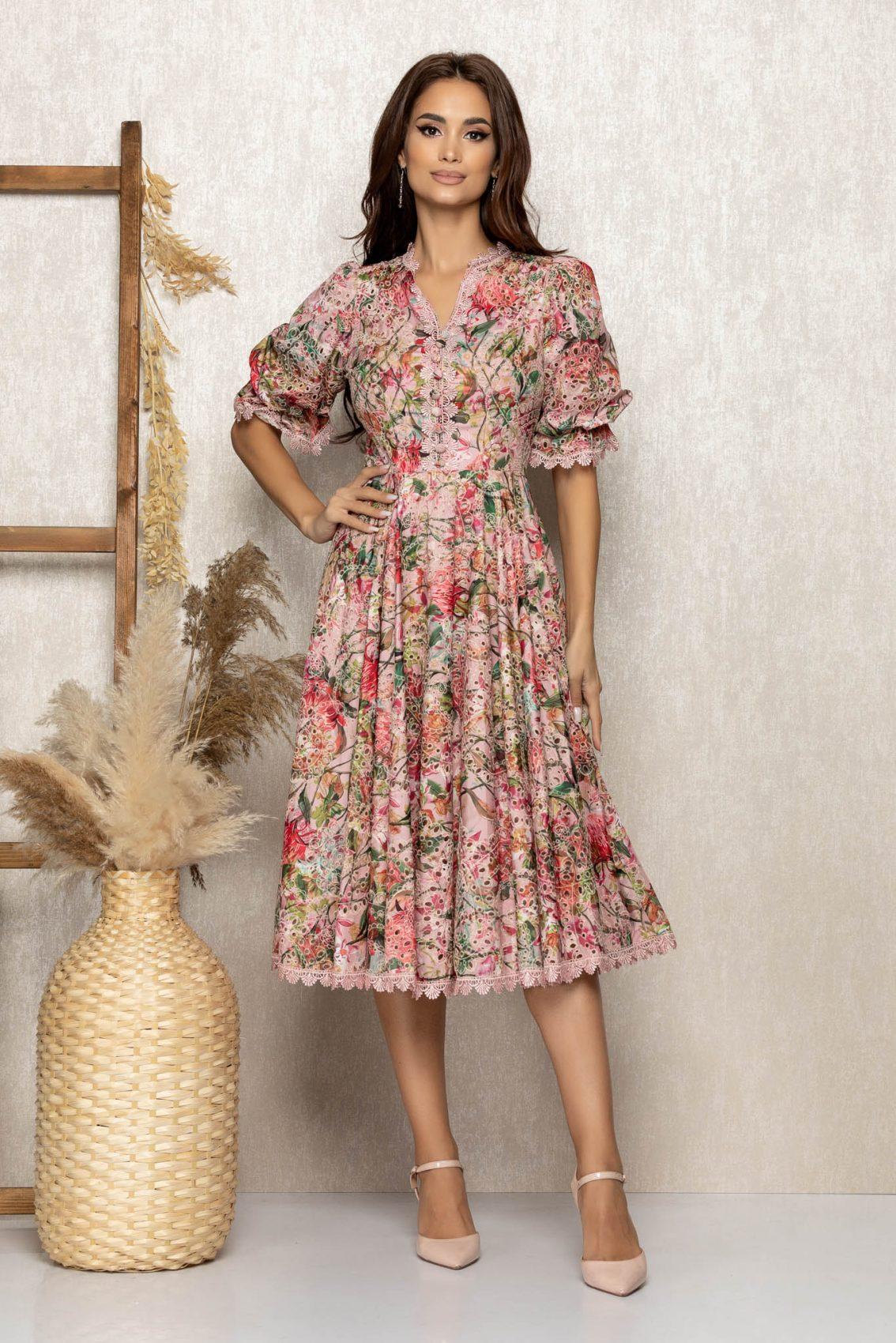Ροζ Εμπριμέ Μίντι Φόρεμα Από Δαντέλα Felice T314 1