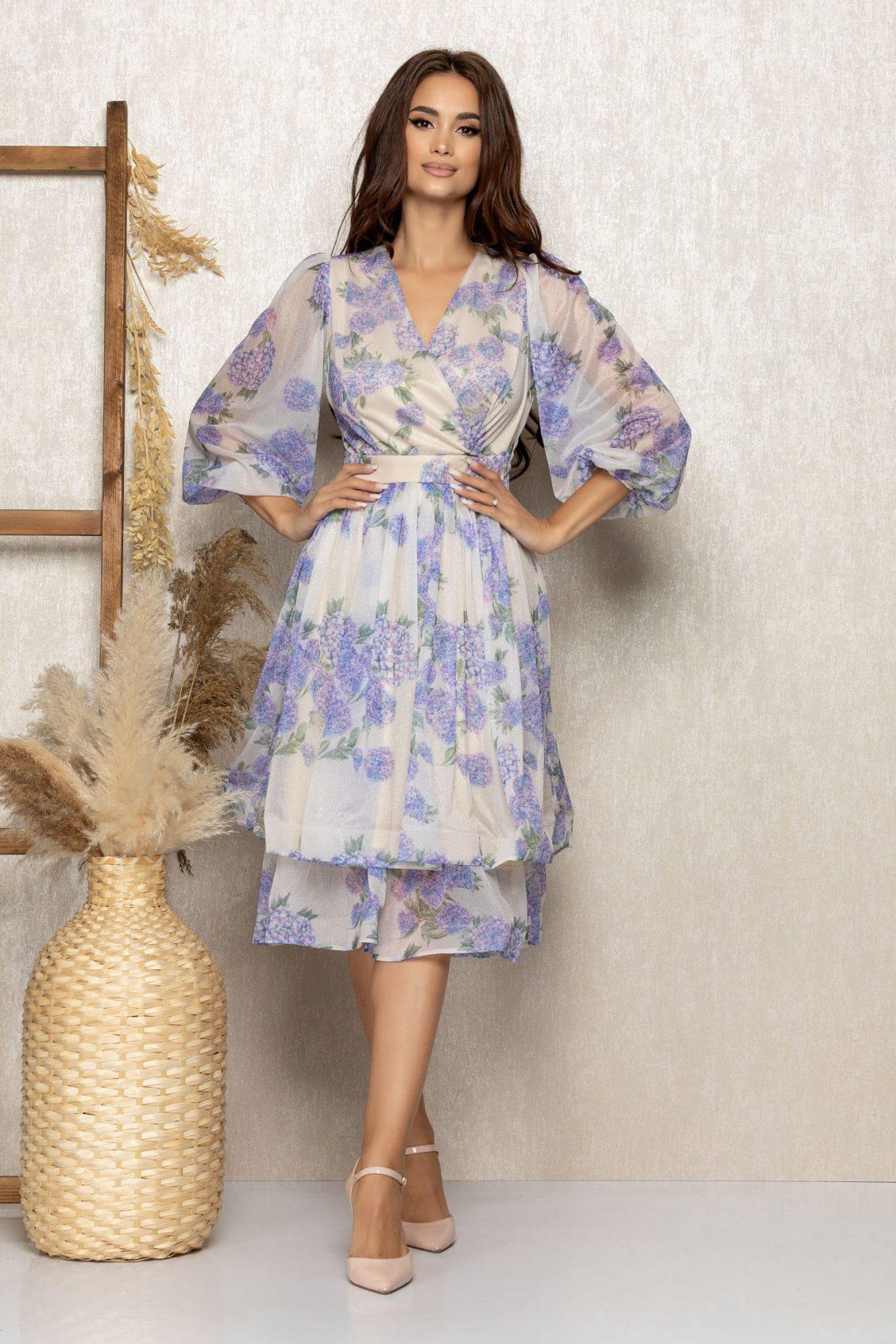 Λιλά Φλοράλ Μίντι Αμπιγιέ Φόρεμα Sedona T316 1