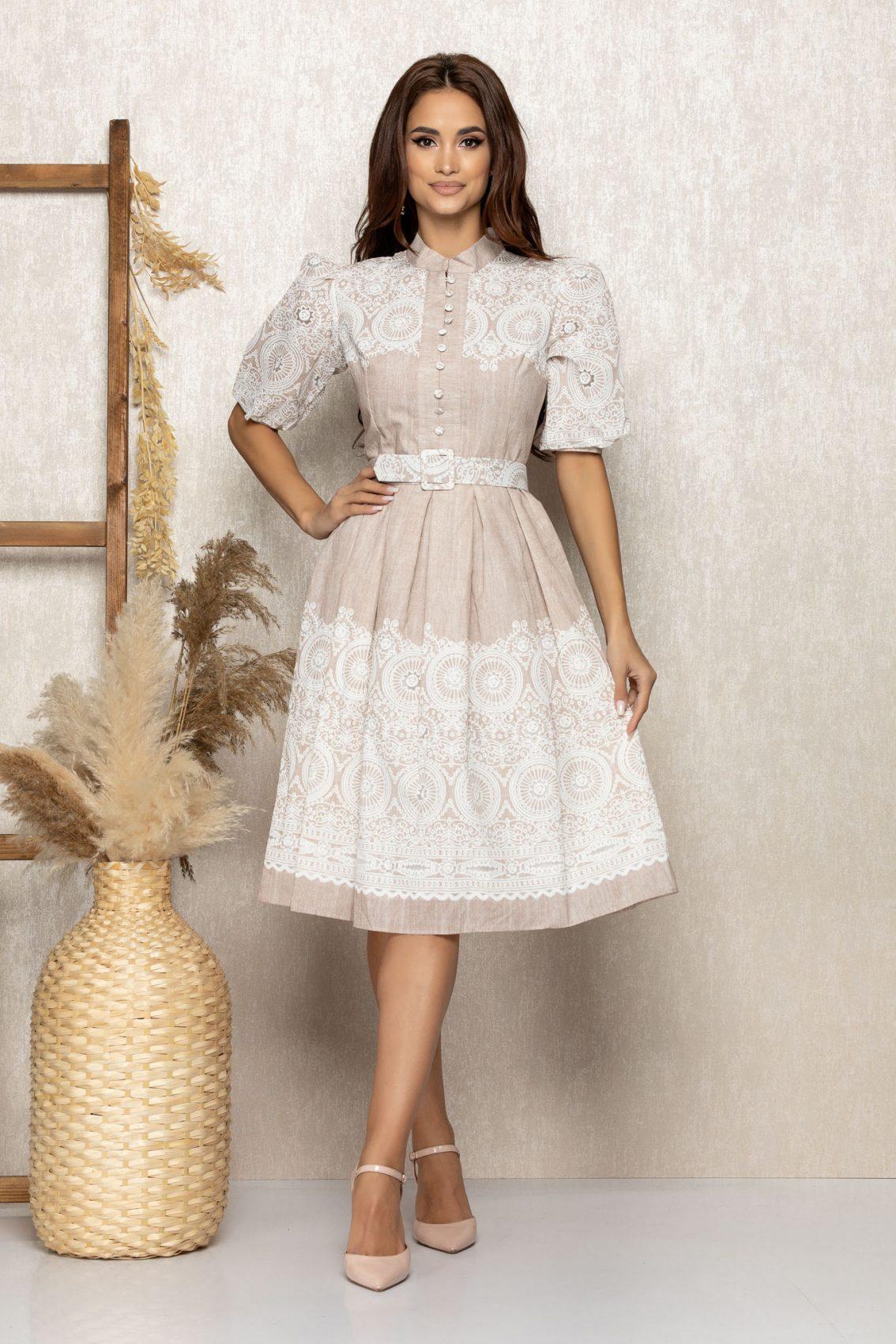 Μπεζ Μίντι Κλος Φόρεμα Lucia T324 1