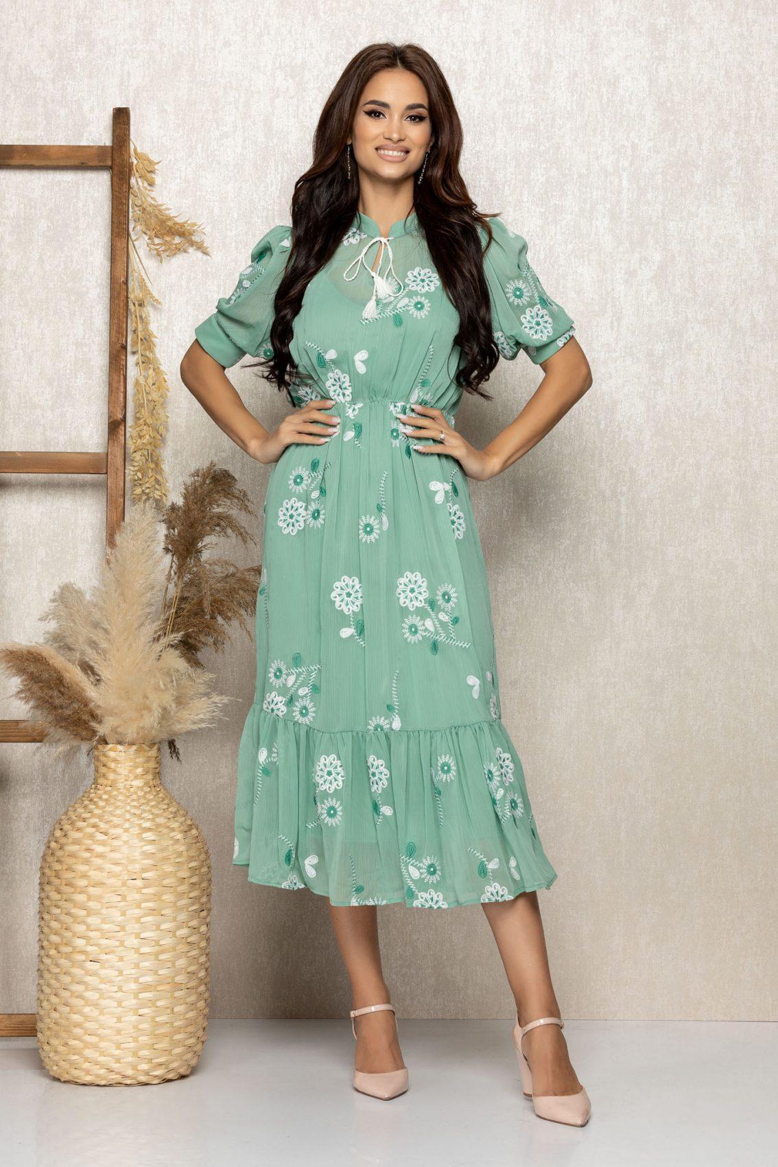 Μέντα Μίντι Φόρεμα Με Κέντημα Ellen T321 1