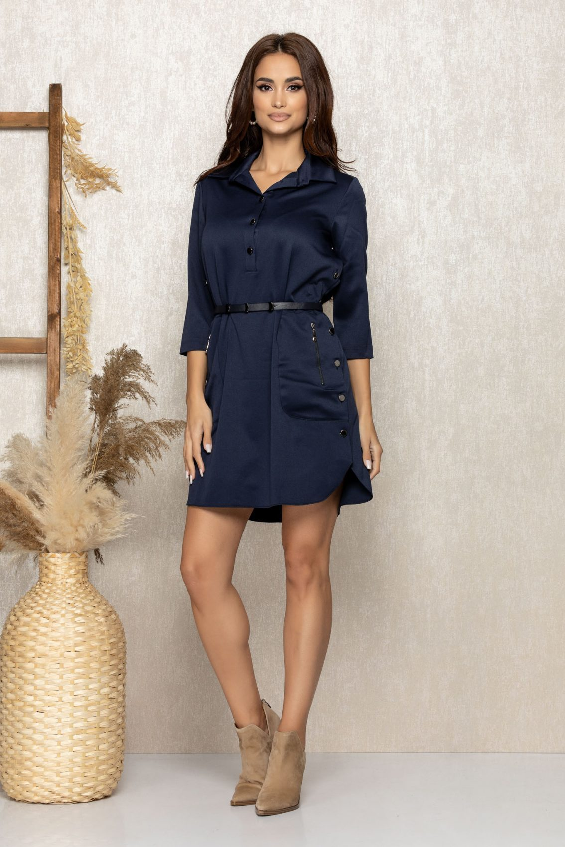 Μπλε Φόρεμα Με Κουμπιά Kenzy 9243 1