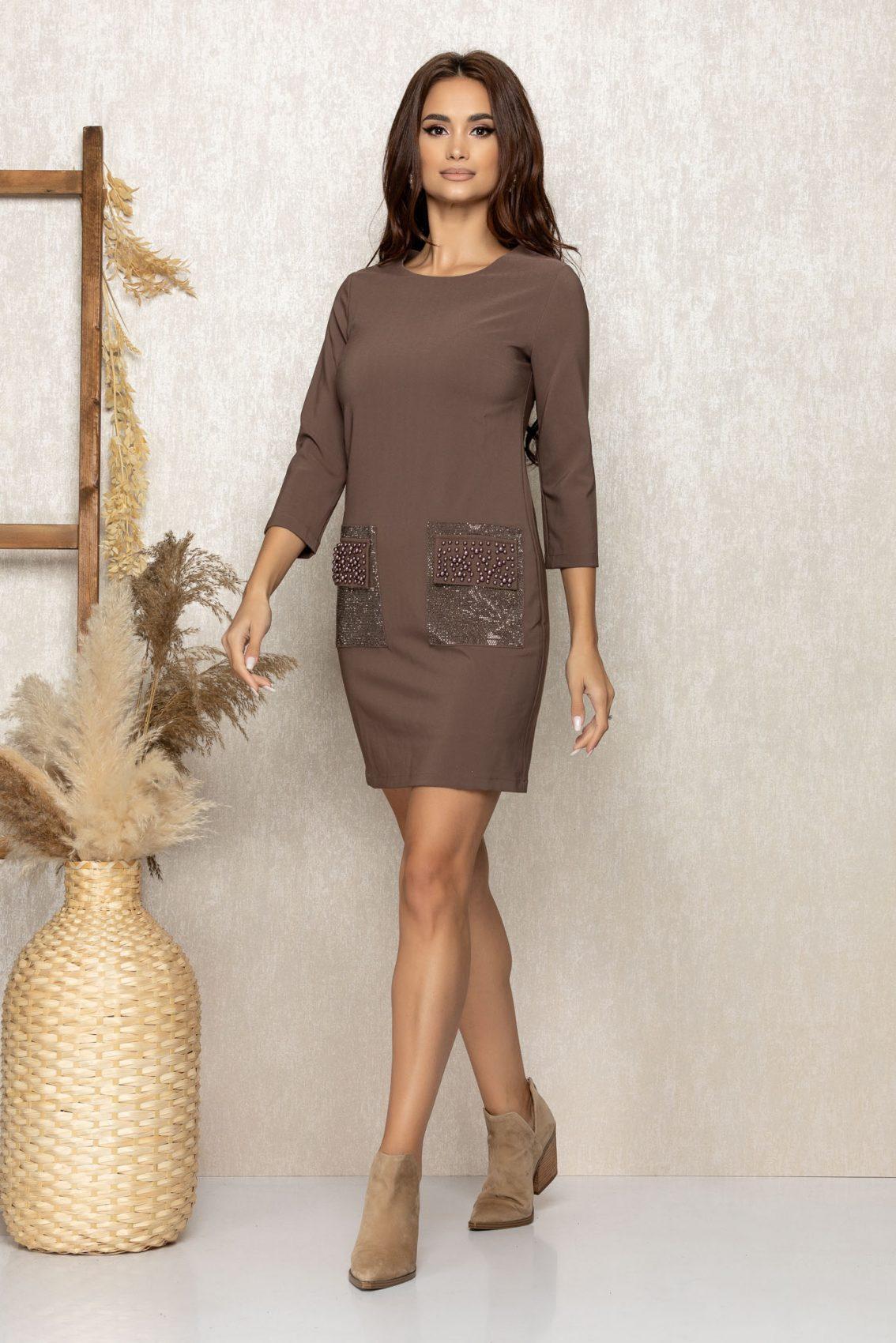Καφέ Φόρεμα Με Πέρλες Merve 9270 1
