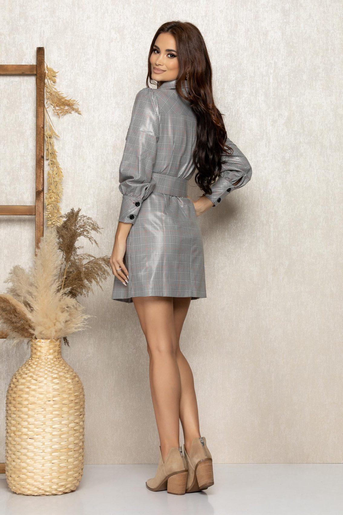 Γκρι Καρό Φόρεμα Με Ζώνη Nyla 9292 2