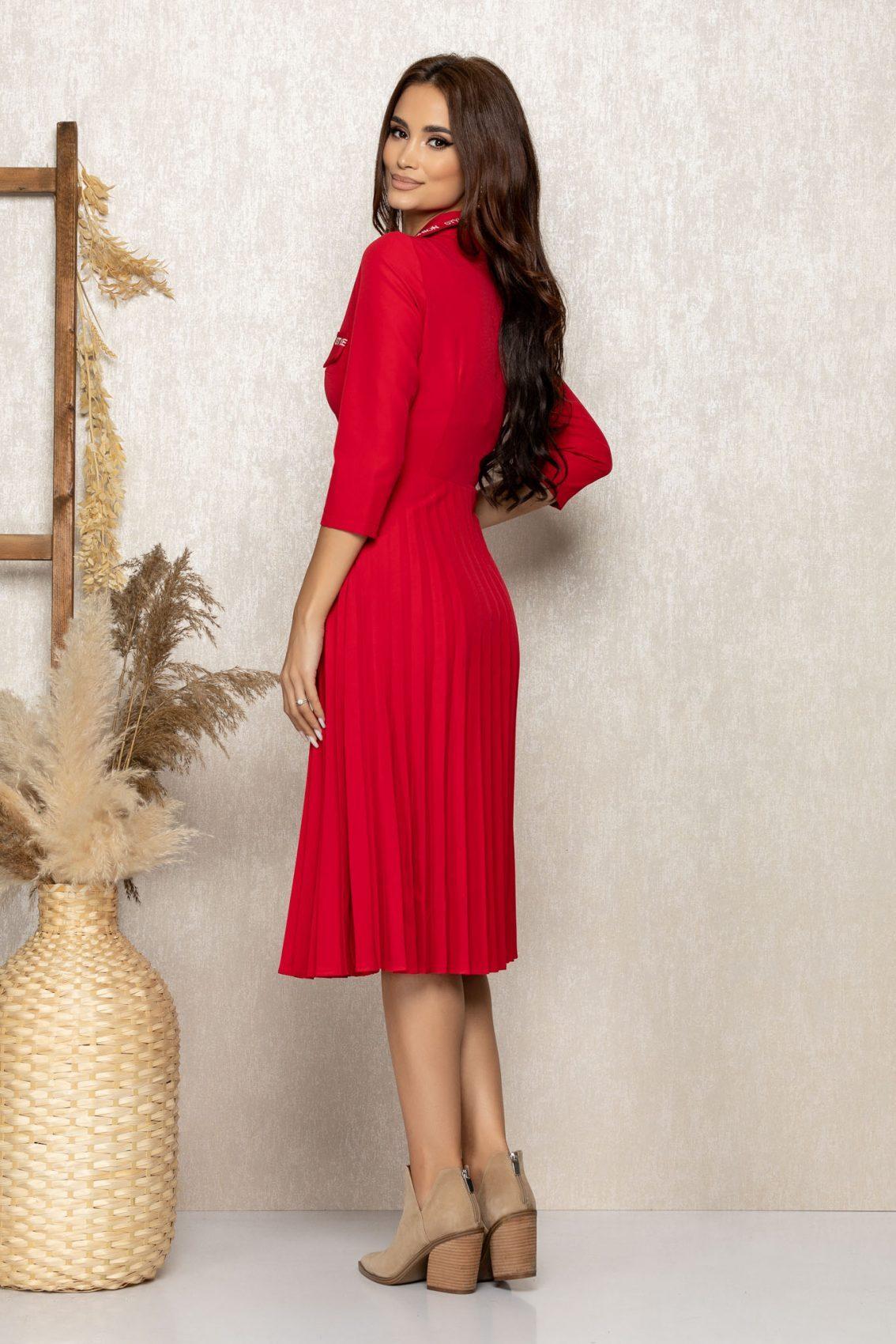 Κόκκινο Πλισέ Φόρεμα Fashion 9279 2