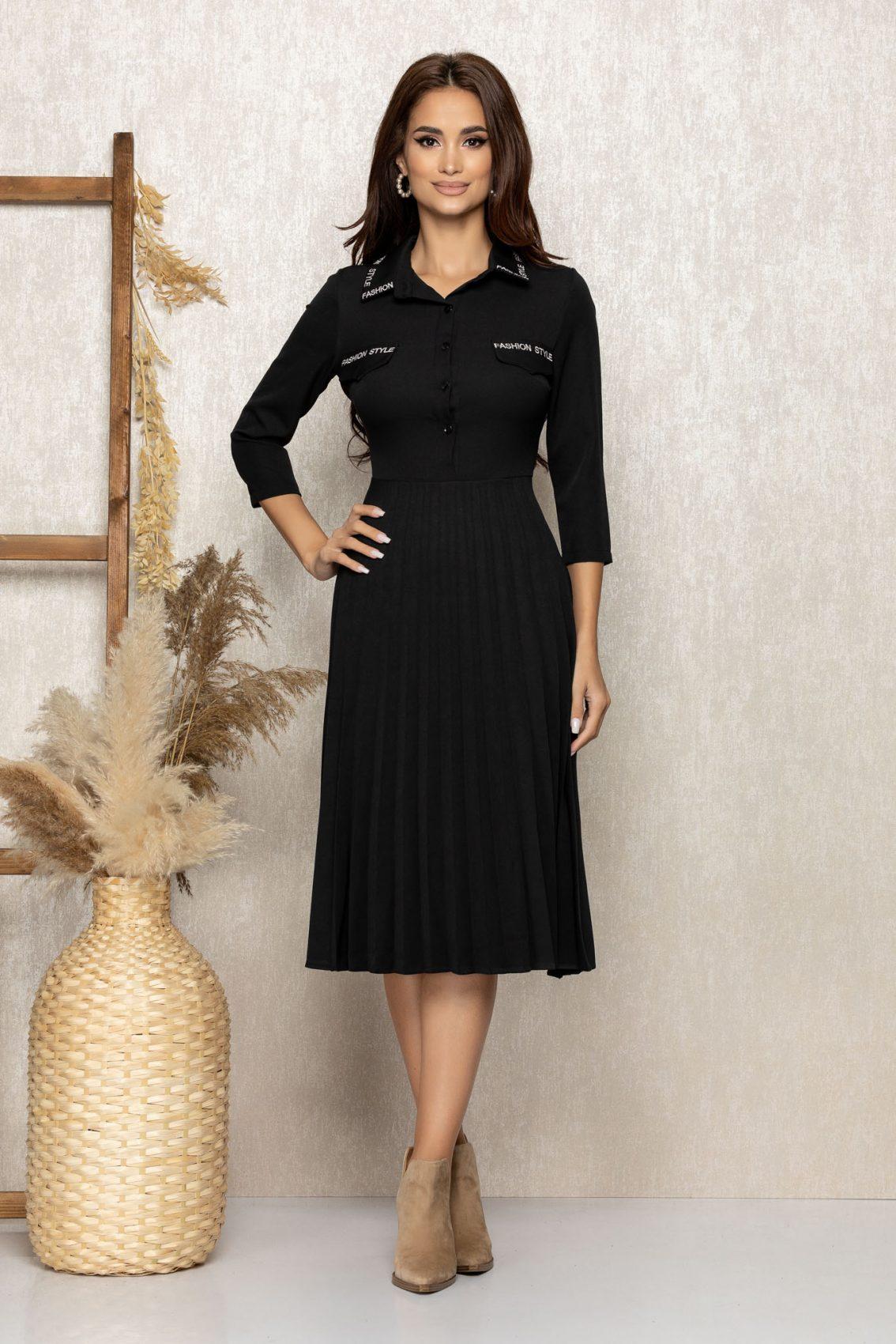 Μαύρο Πλισέ Φόρεμα Fashion 9280 1