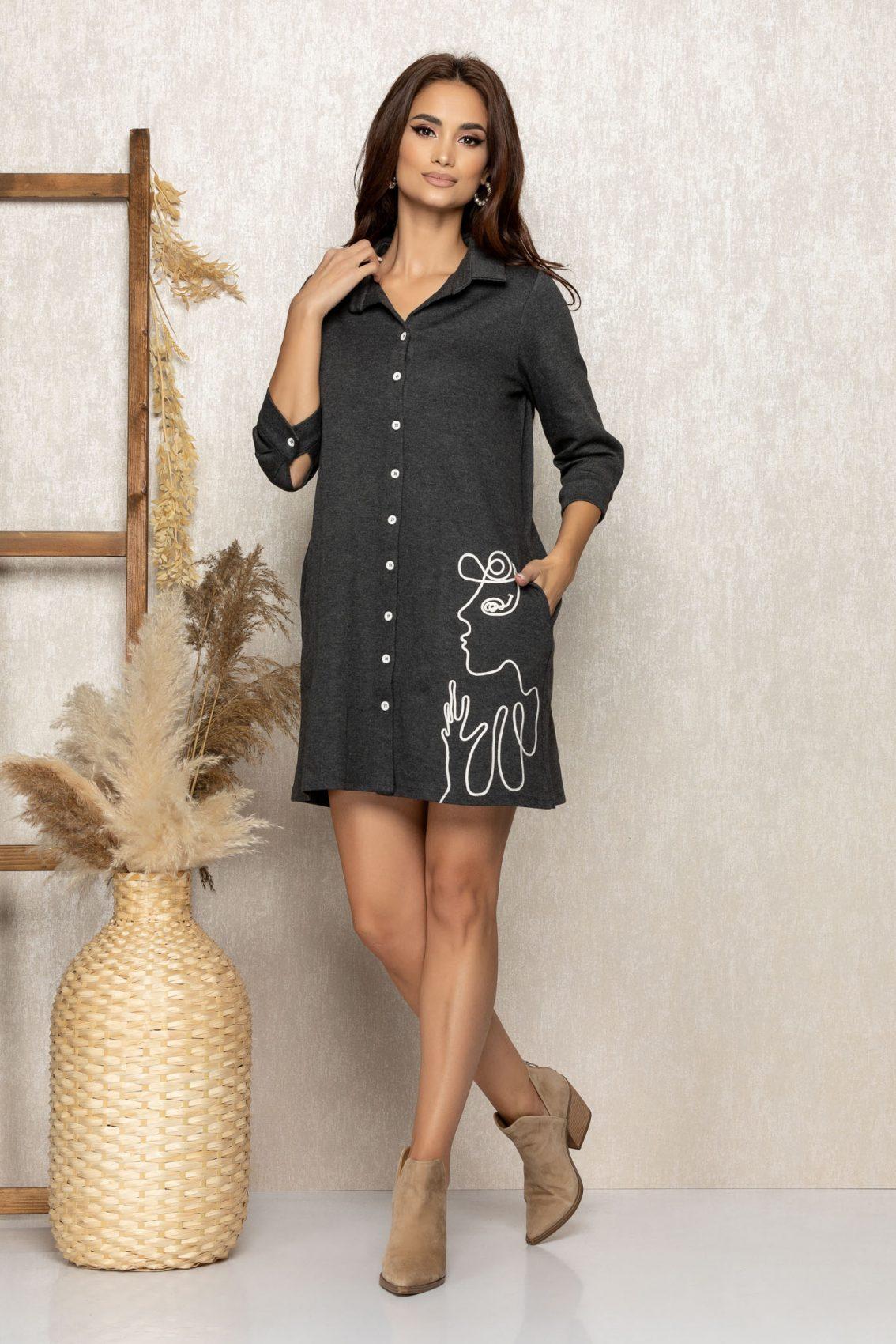 Γκρι Καθημερινό Φόρεμα Dolyn 9246 1